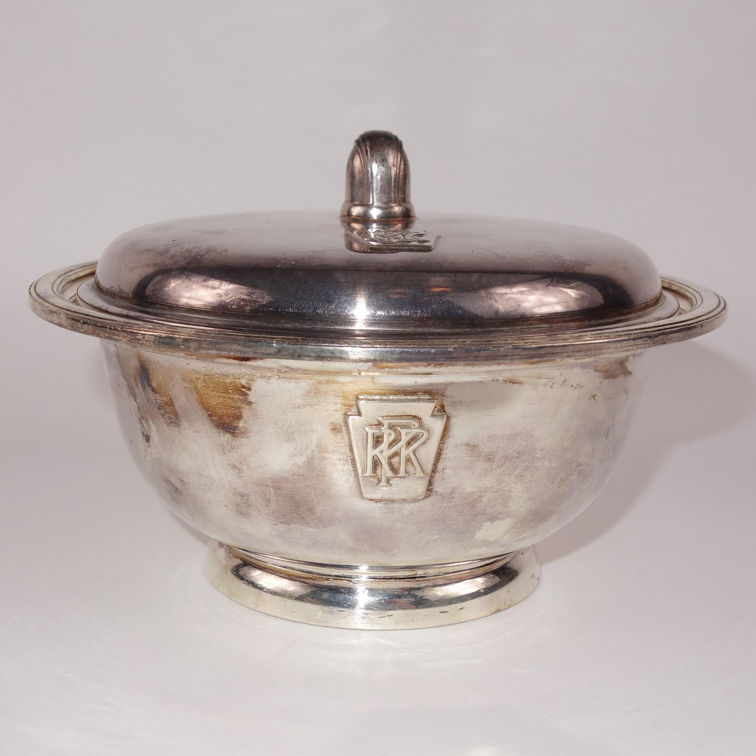 Vintage International Silver Pennsylvania Railroad Silver Soldered Lidded Bowl