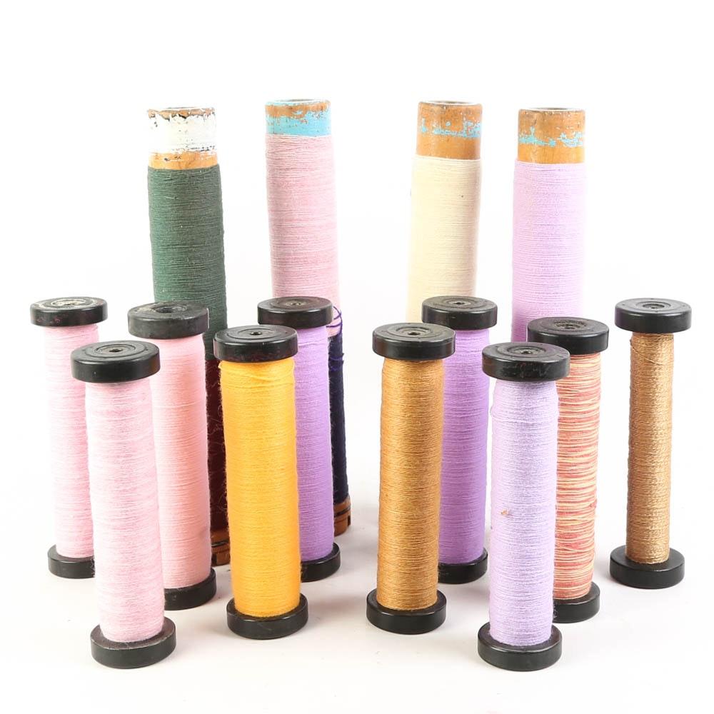 Vintage Wooden Industrial Spools of Thread