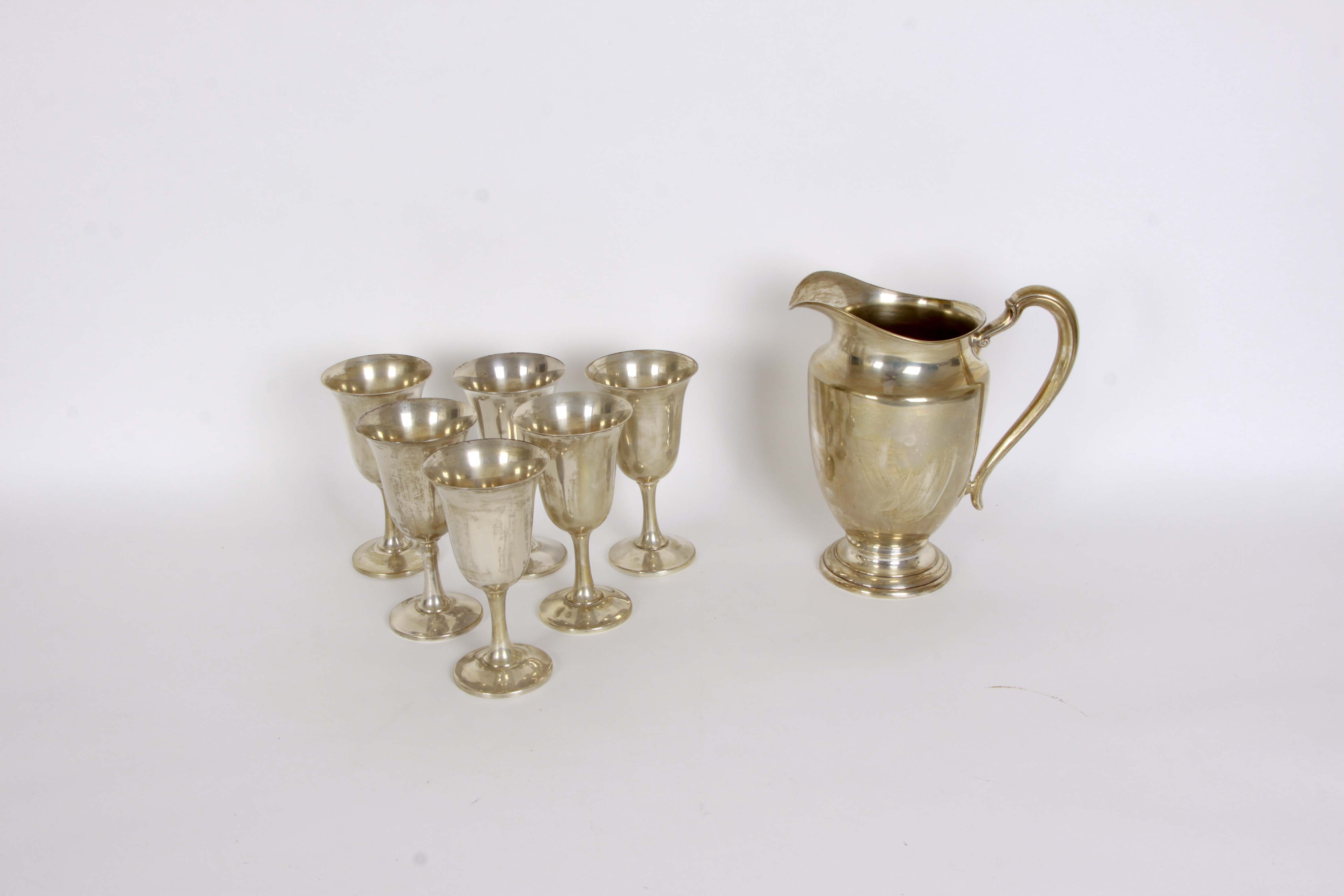 Sterling Silver Pitcher and Goblets