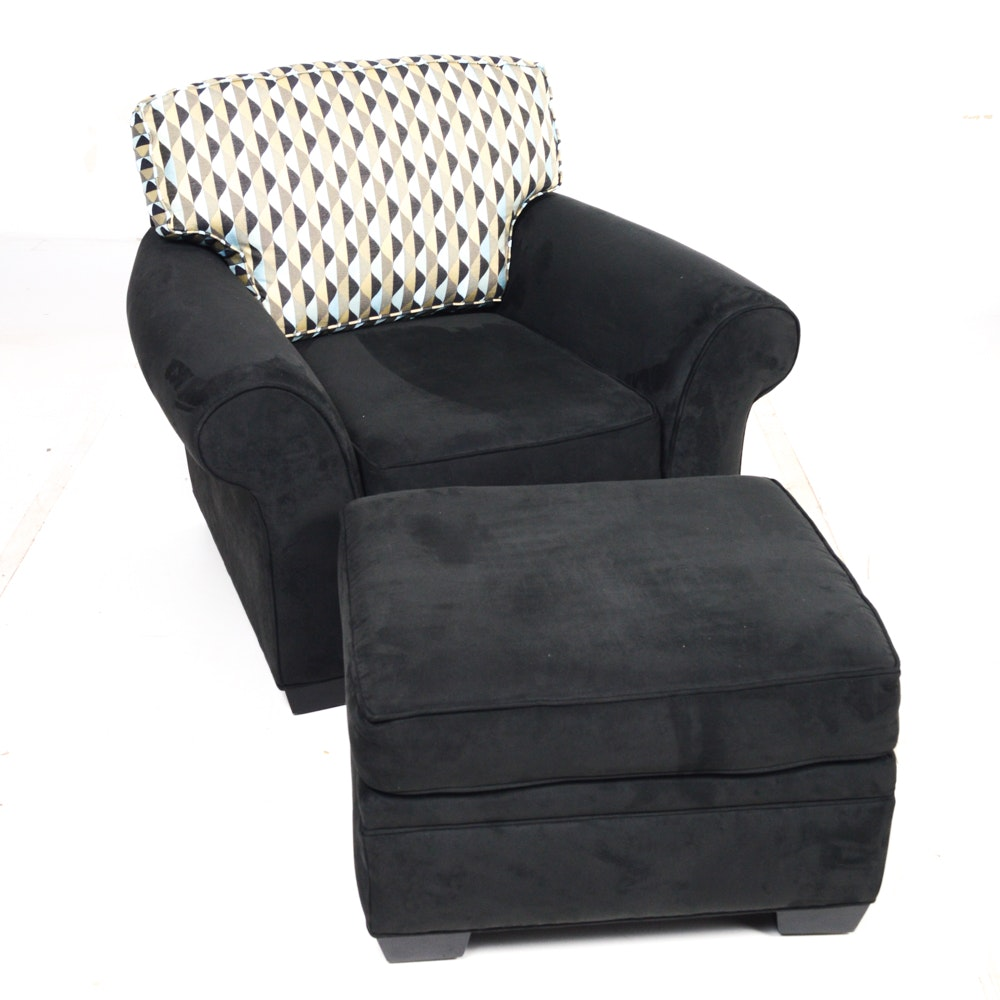 Carter Micro-Suede Armchair with Ottoman