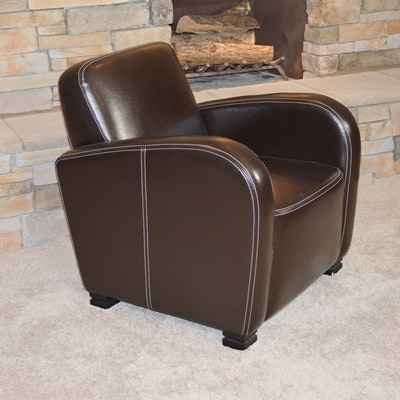 Bernhardt Brown Leather Club Chair