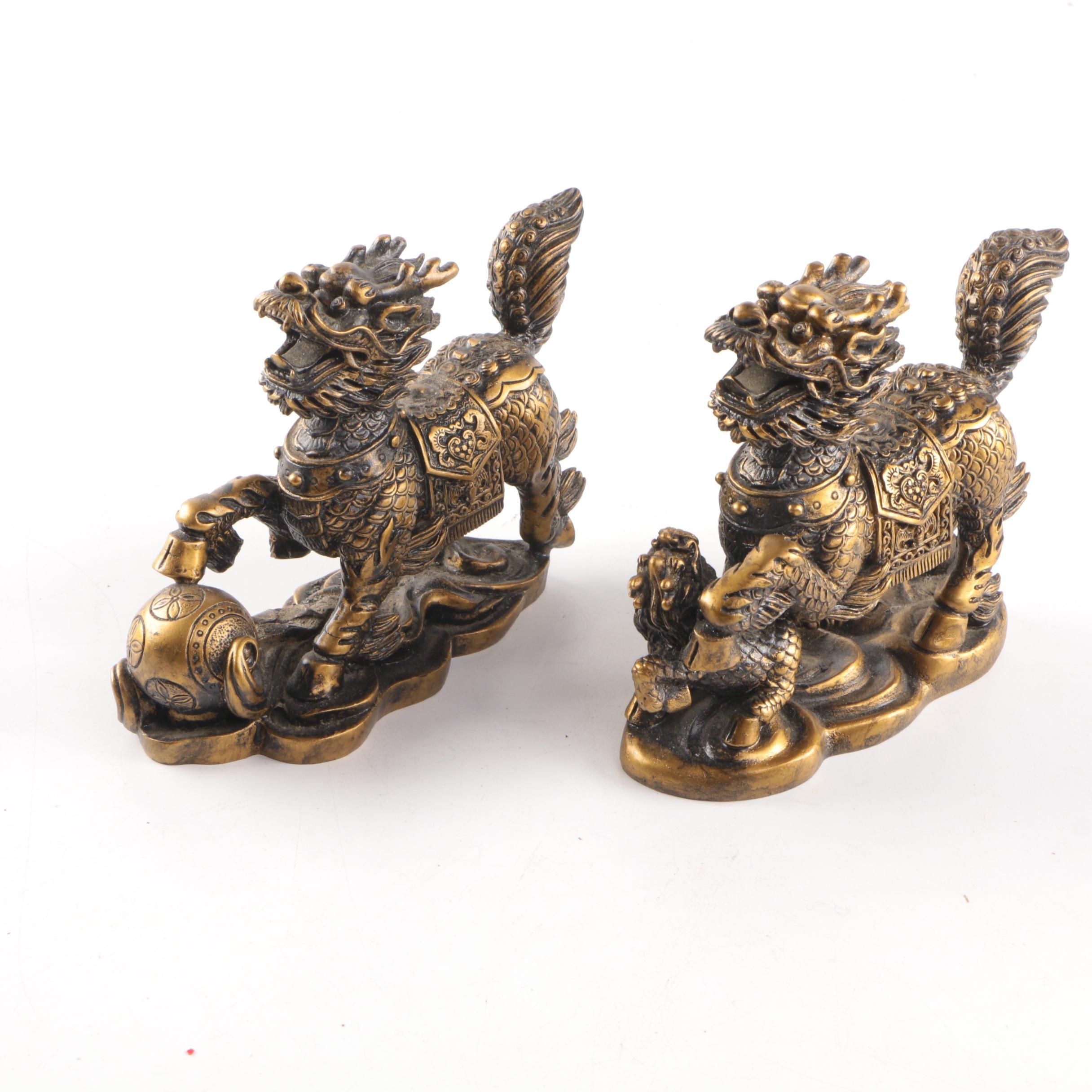 Chinese Brass Qilin Figurines