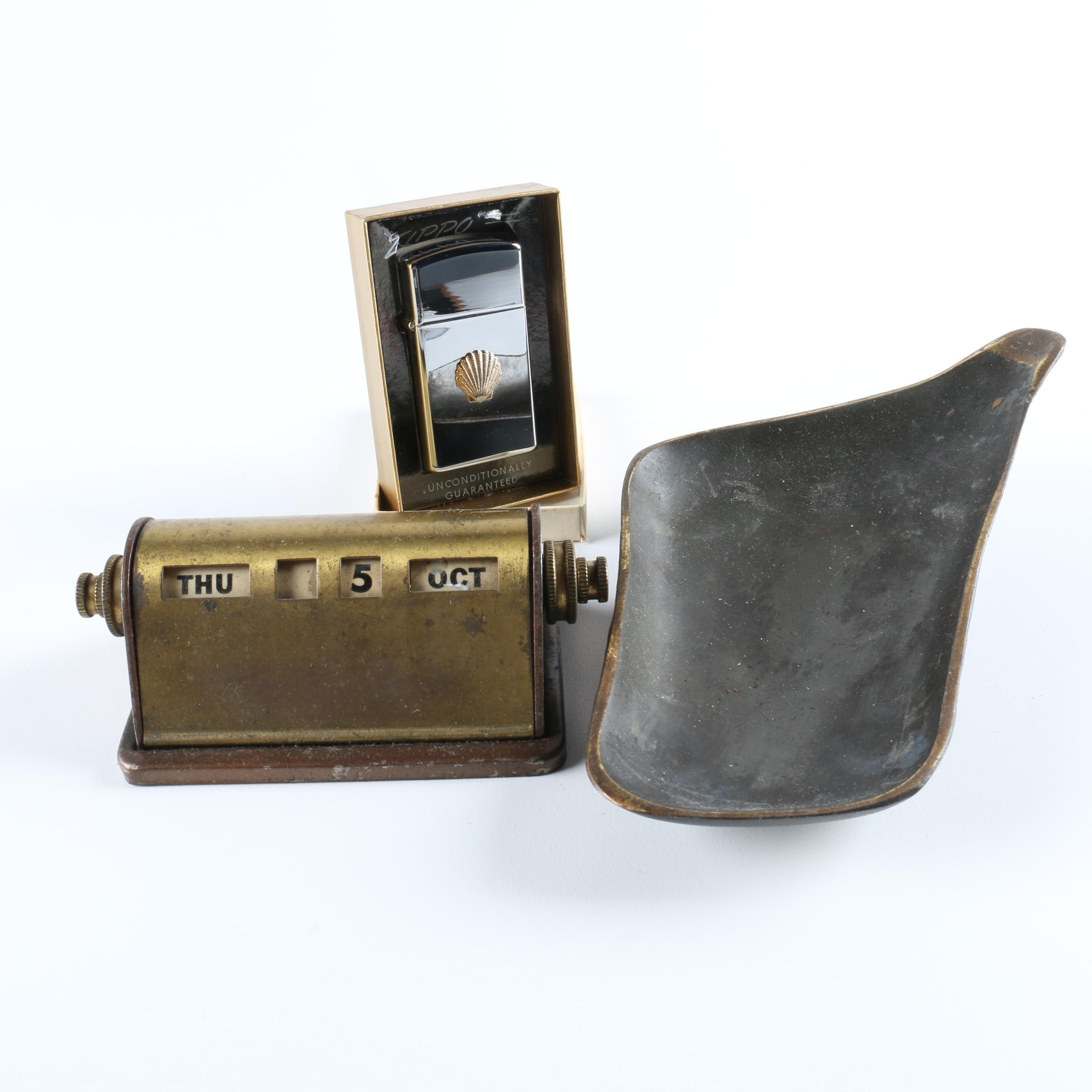 Vintage Brass Decor and Zippo Lighter