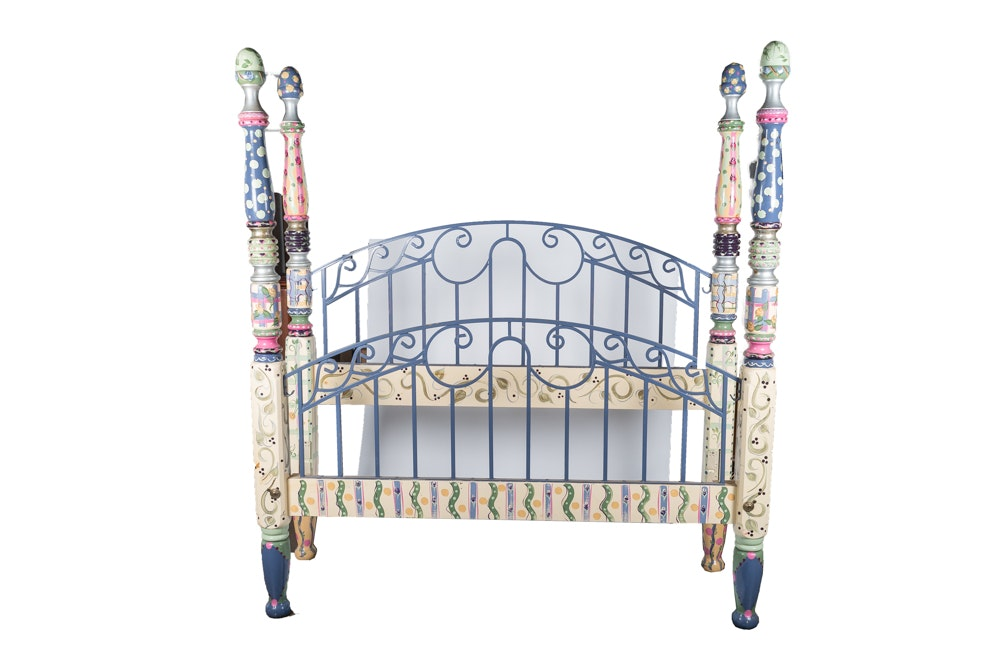 Hand Painted Wood and Metal Bed Frame