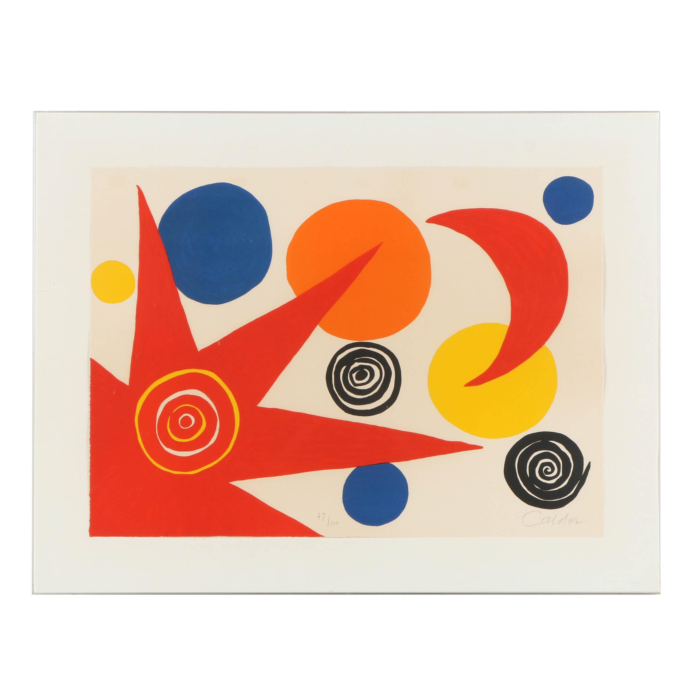 """Signed Alexander Calder Limited Edition Lithograph """"La Mémoire Élémentaire"""""""