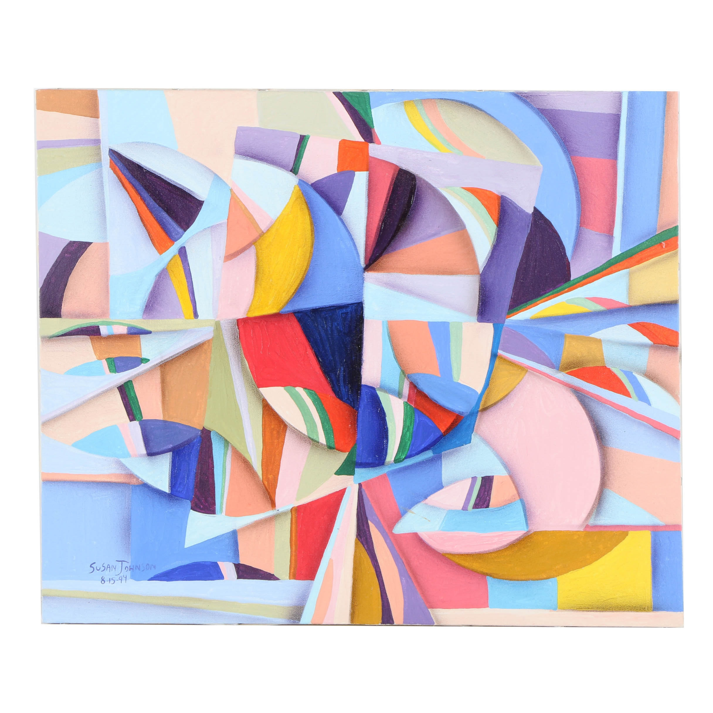 Susan Johnson Acrylic Painting on Canvas of Abstract Composition