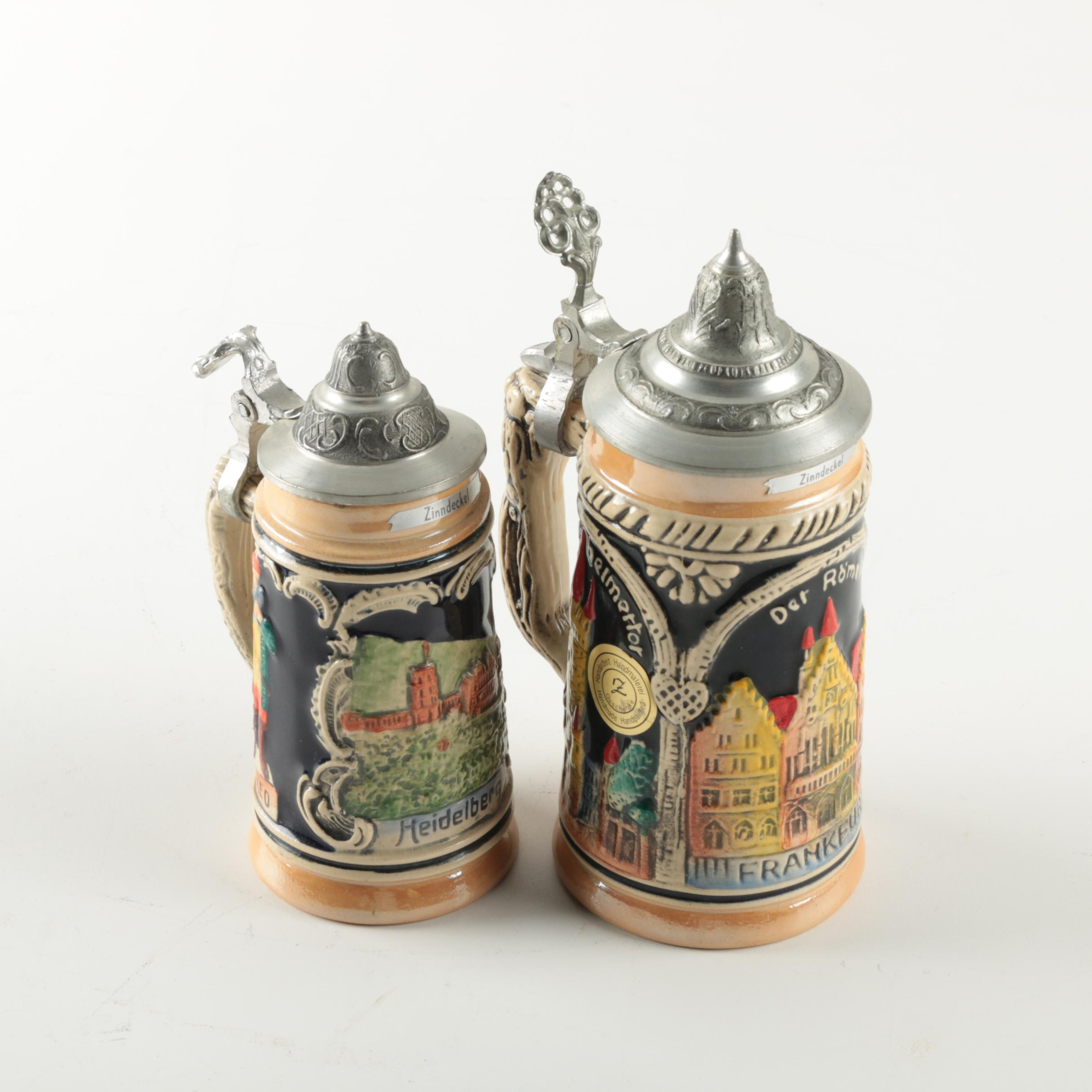 Lidded German Ceramic Beer Steins