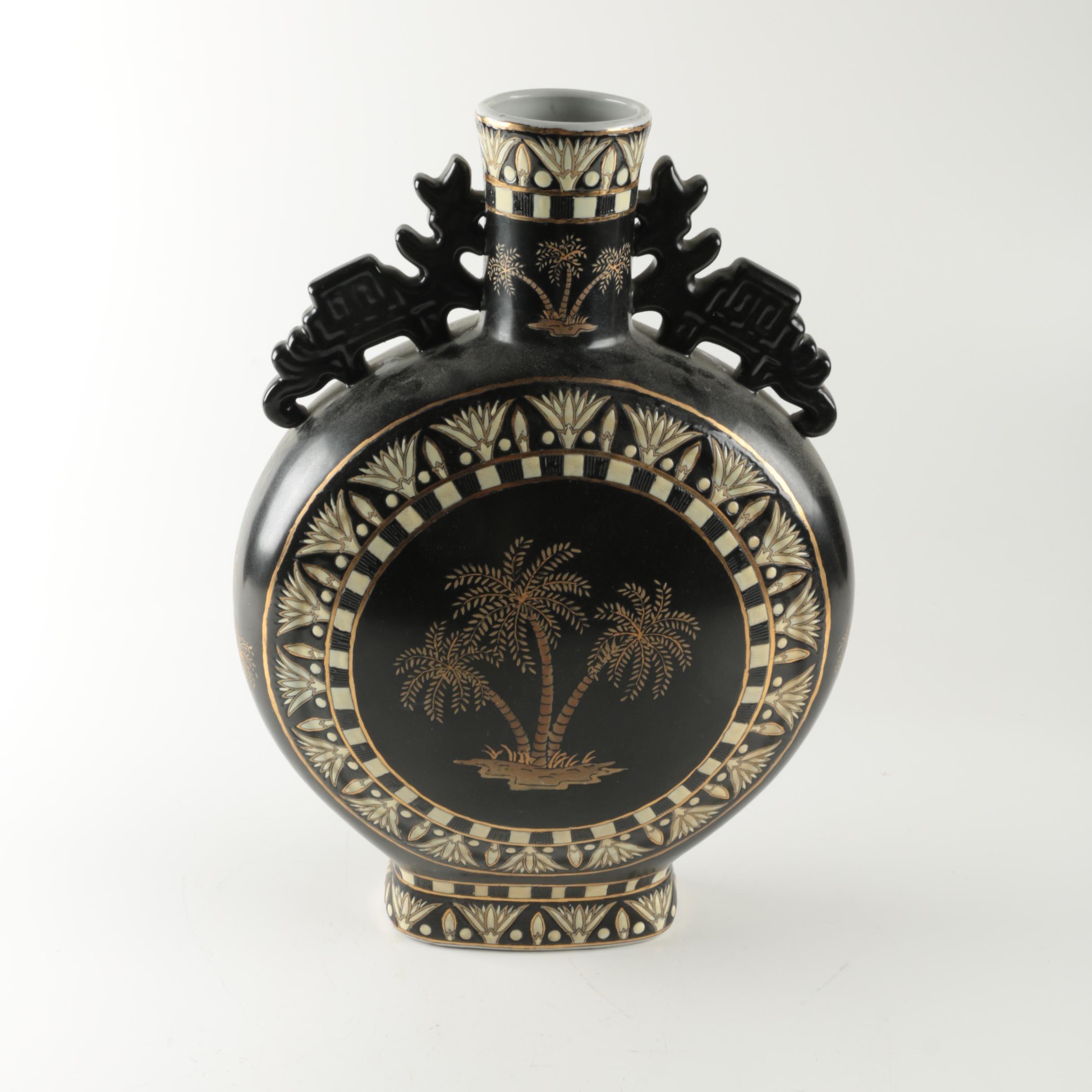 Chinese Porcelain Moon Flask Vase with Enameled Palm Tree Motif