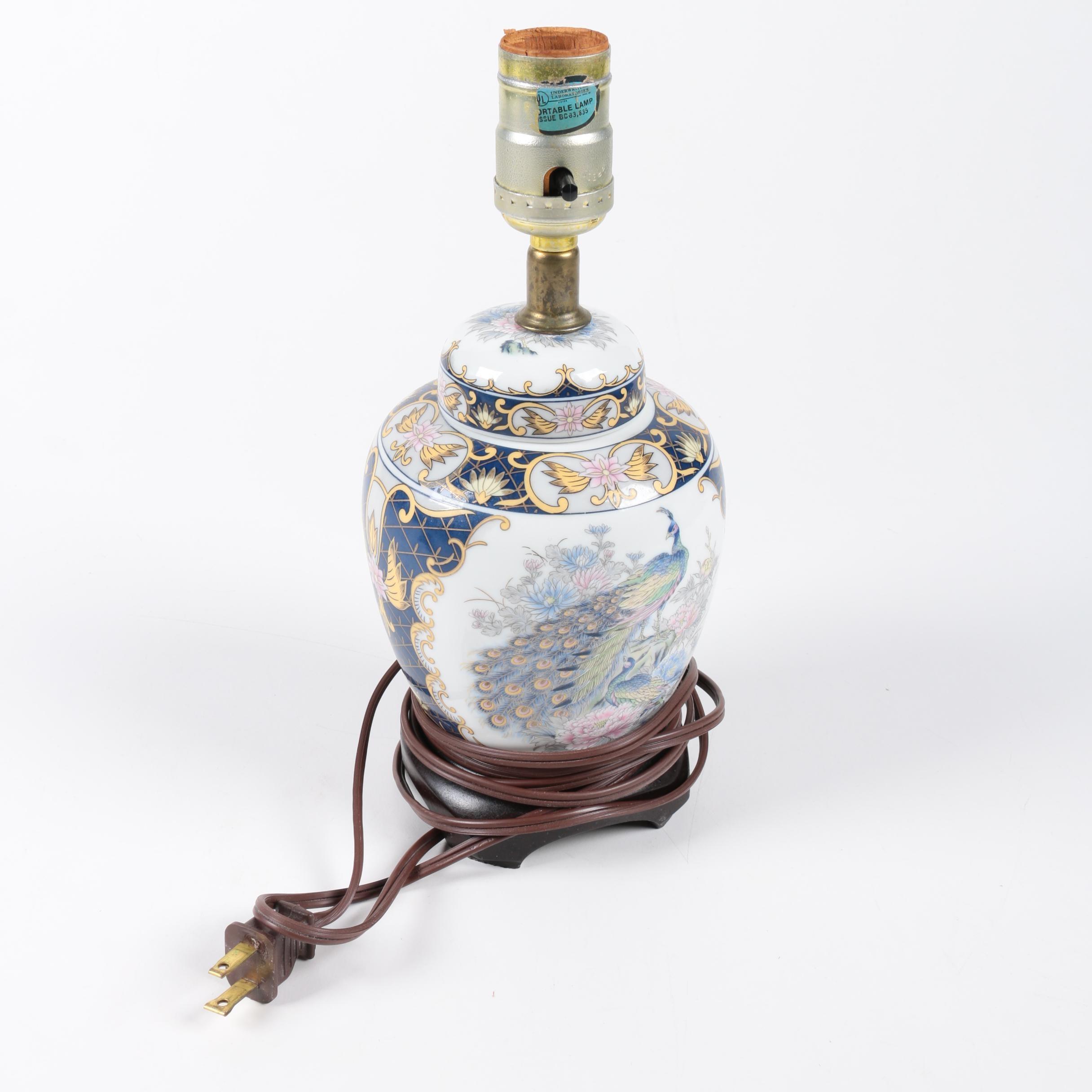 Porcelain Asian Inspired Ginger Jar Table Lamp