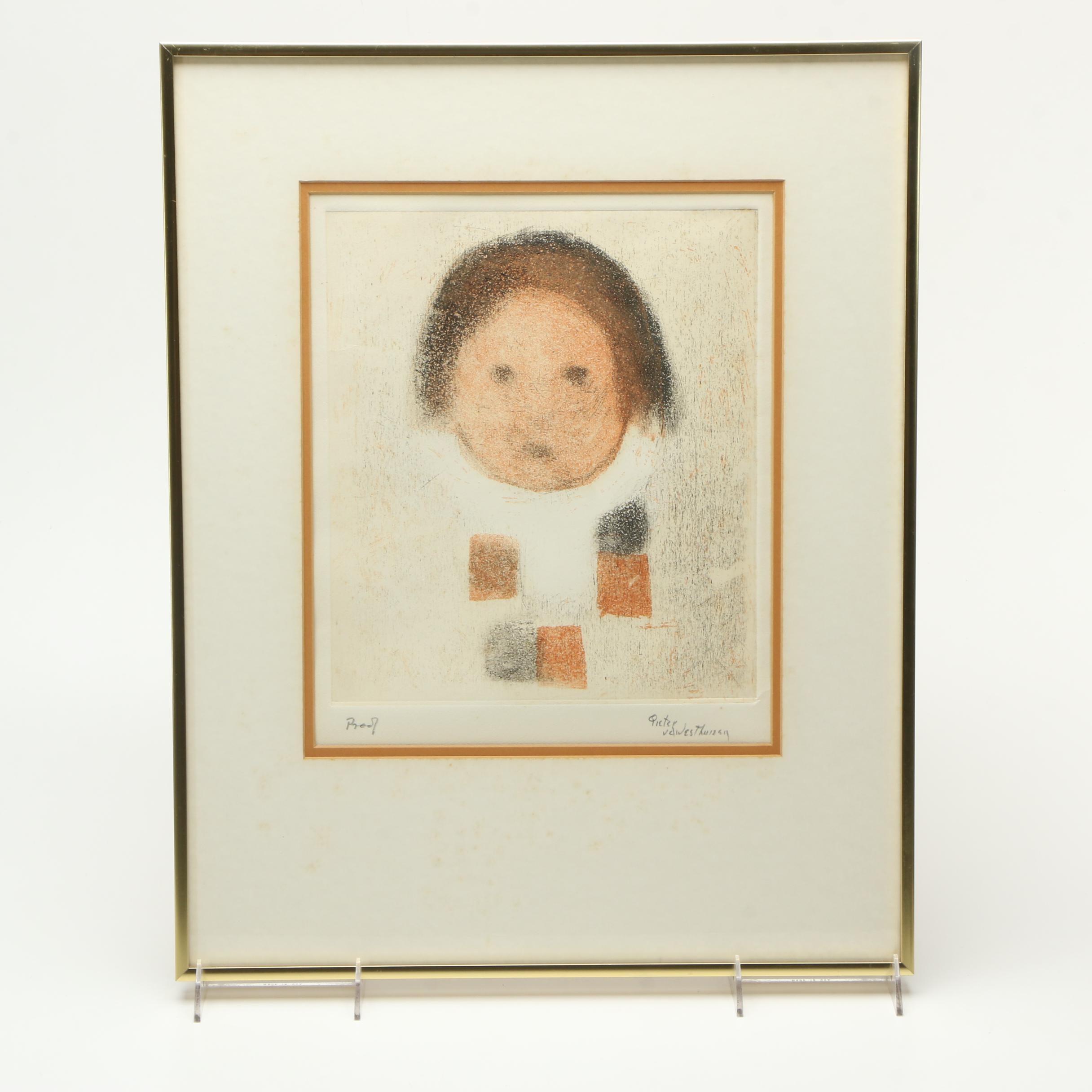 """Pieter Van Der Westhuizen Etching on Paper """"Child"""""""