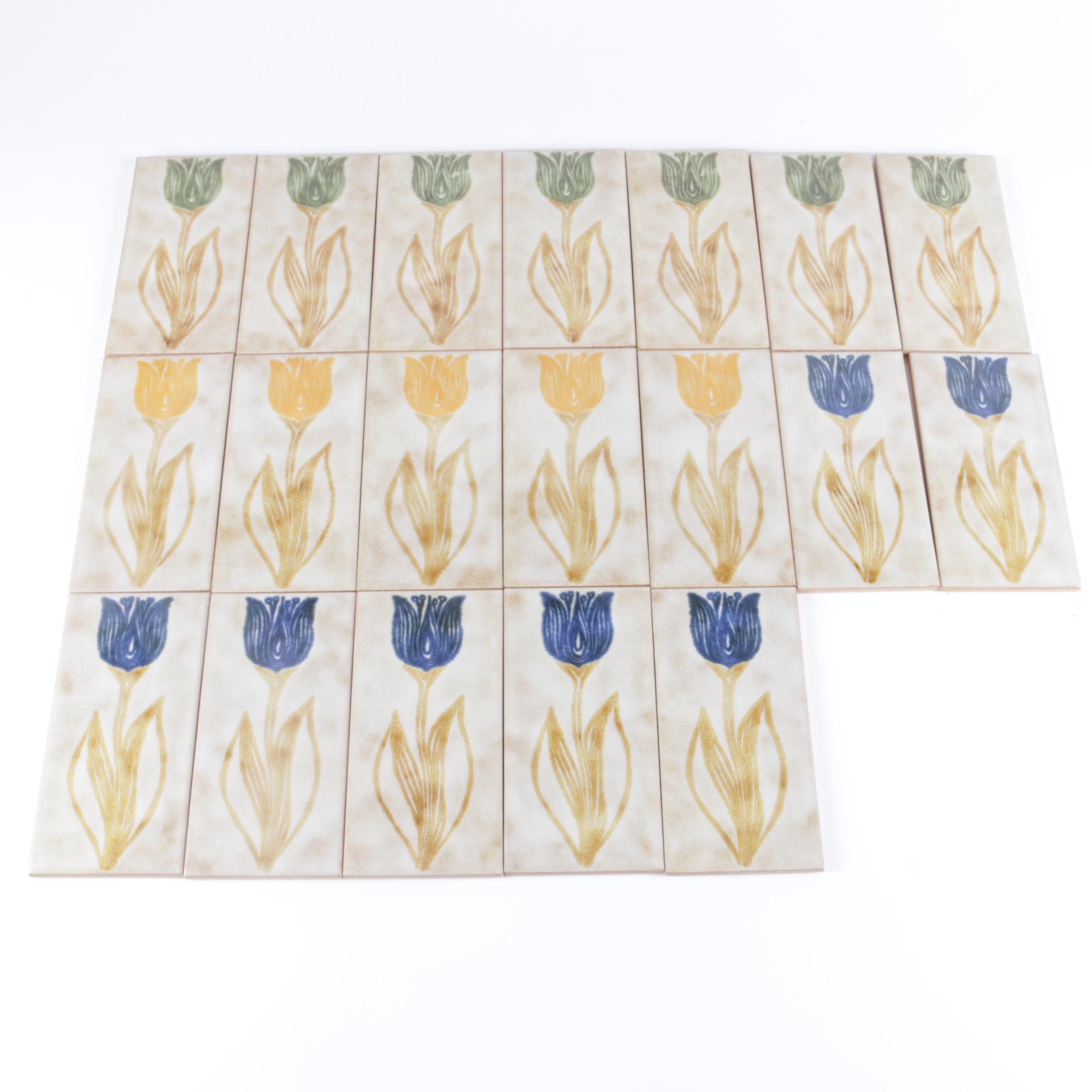 Set of Hand-Painted Italian Ceramic Tulip Tiles