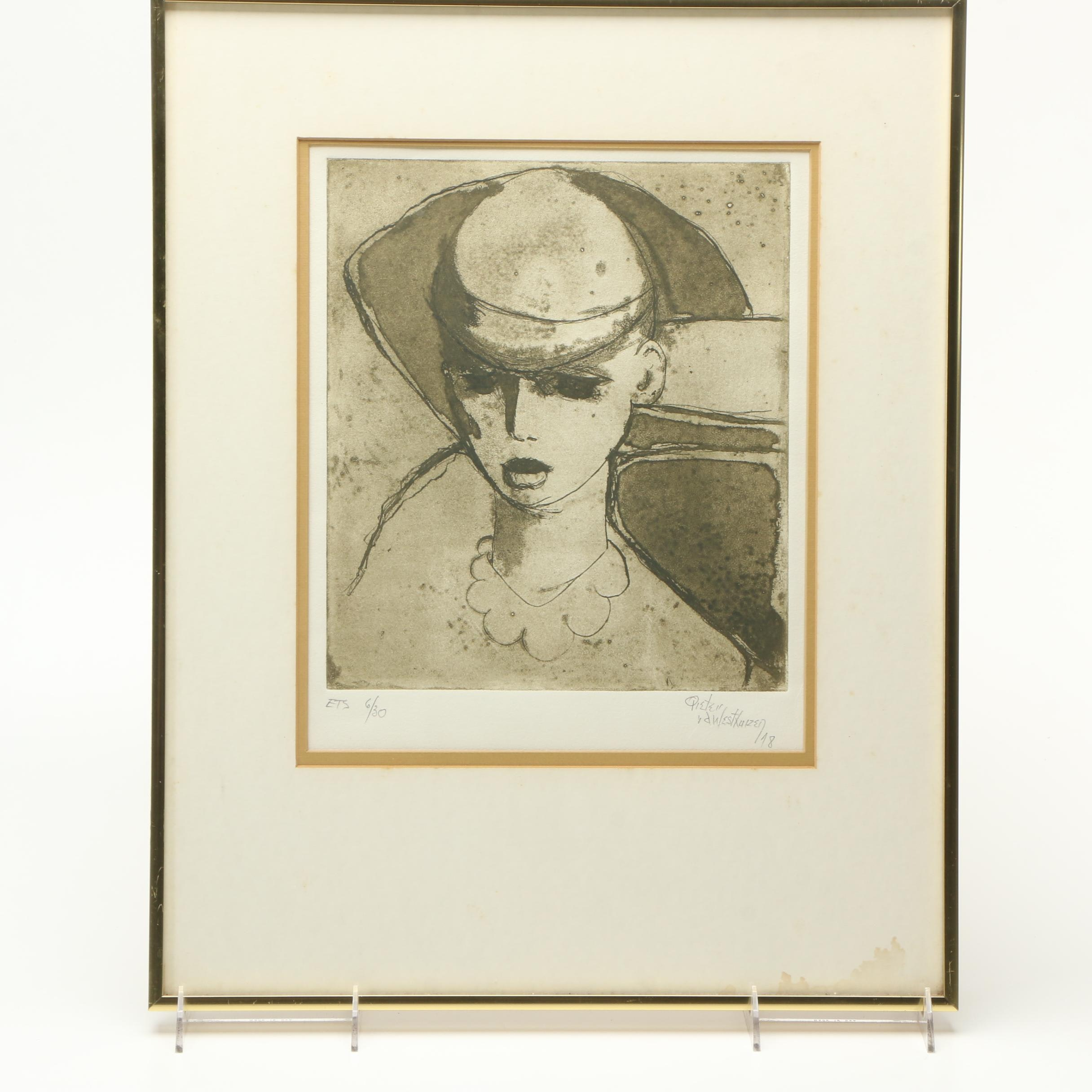 Pieter Van Der Westhuizen Limited Edition Etching of Woman with Hat