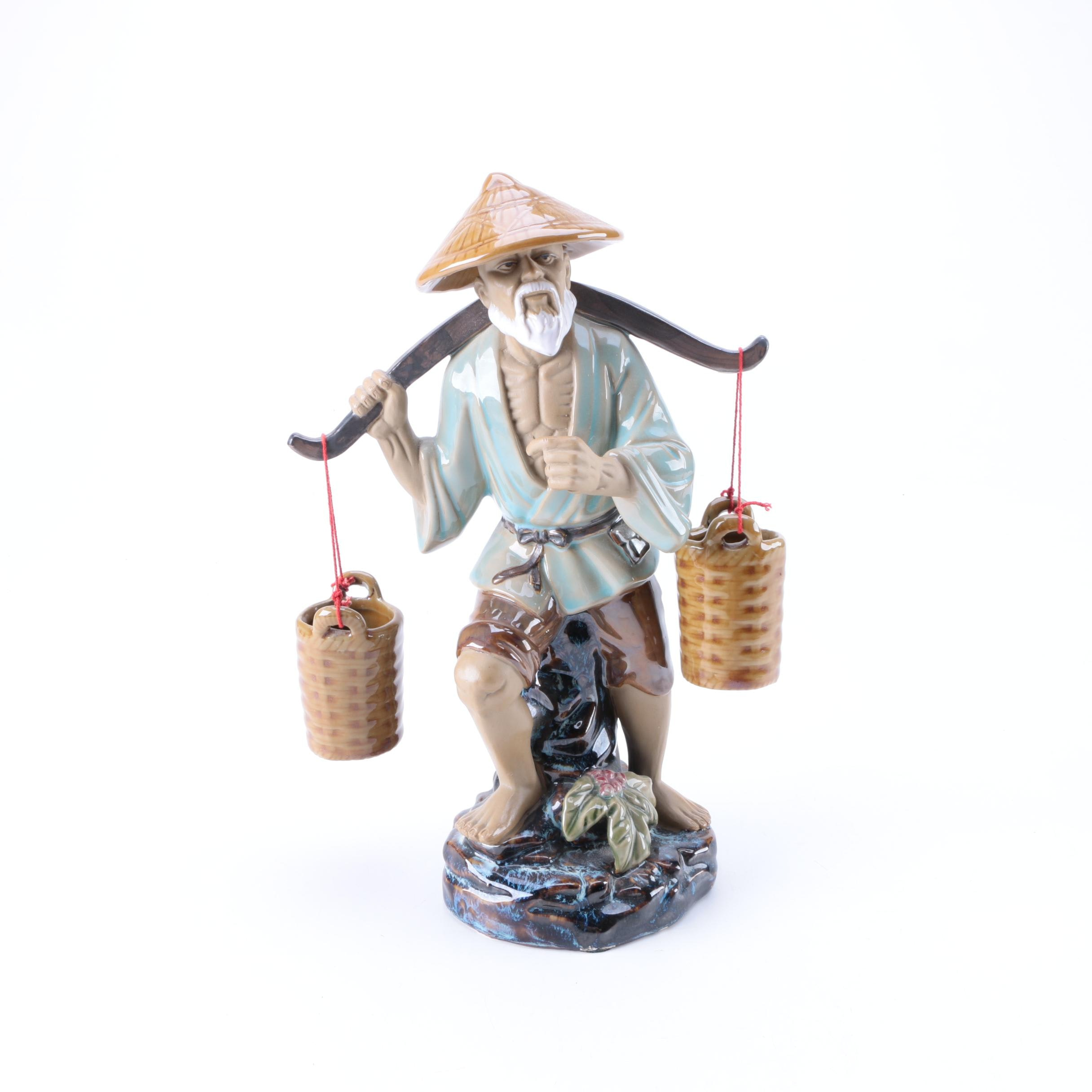 Chinese Inspired Ceramic Fisherman Figurine