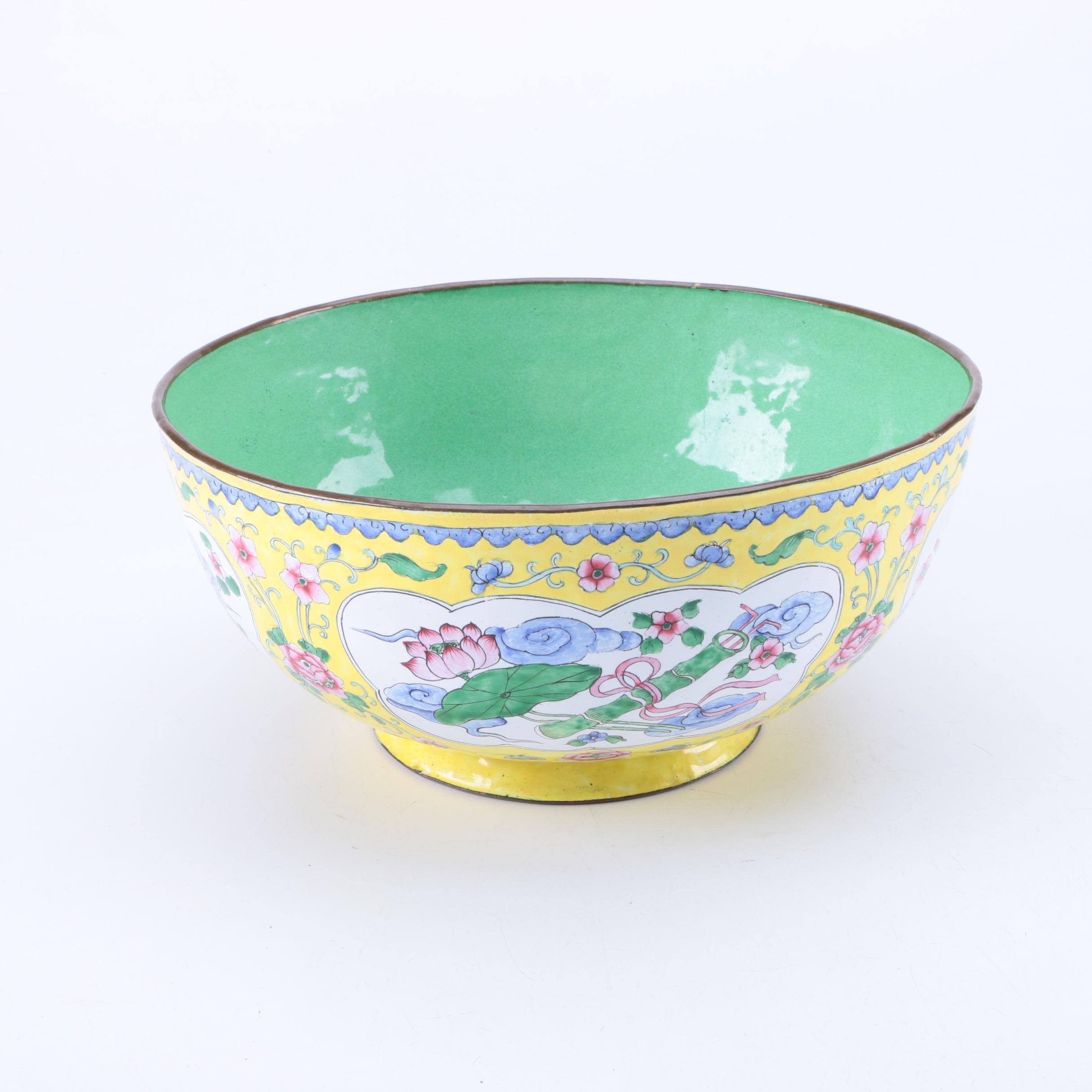 Vintage Chinese Hand Painted Yellow Enamel Bowl