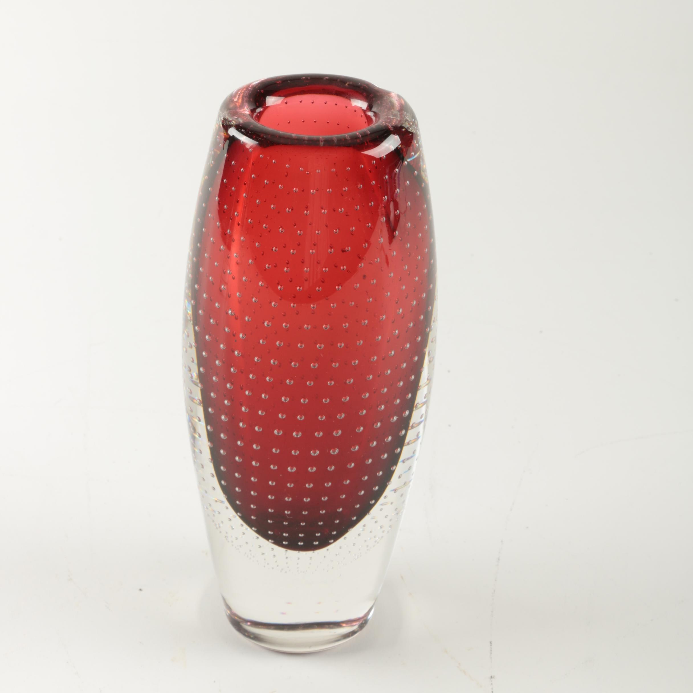 Red Art Glass Vase