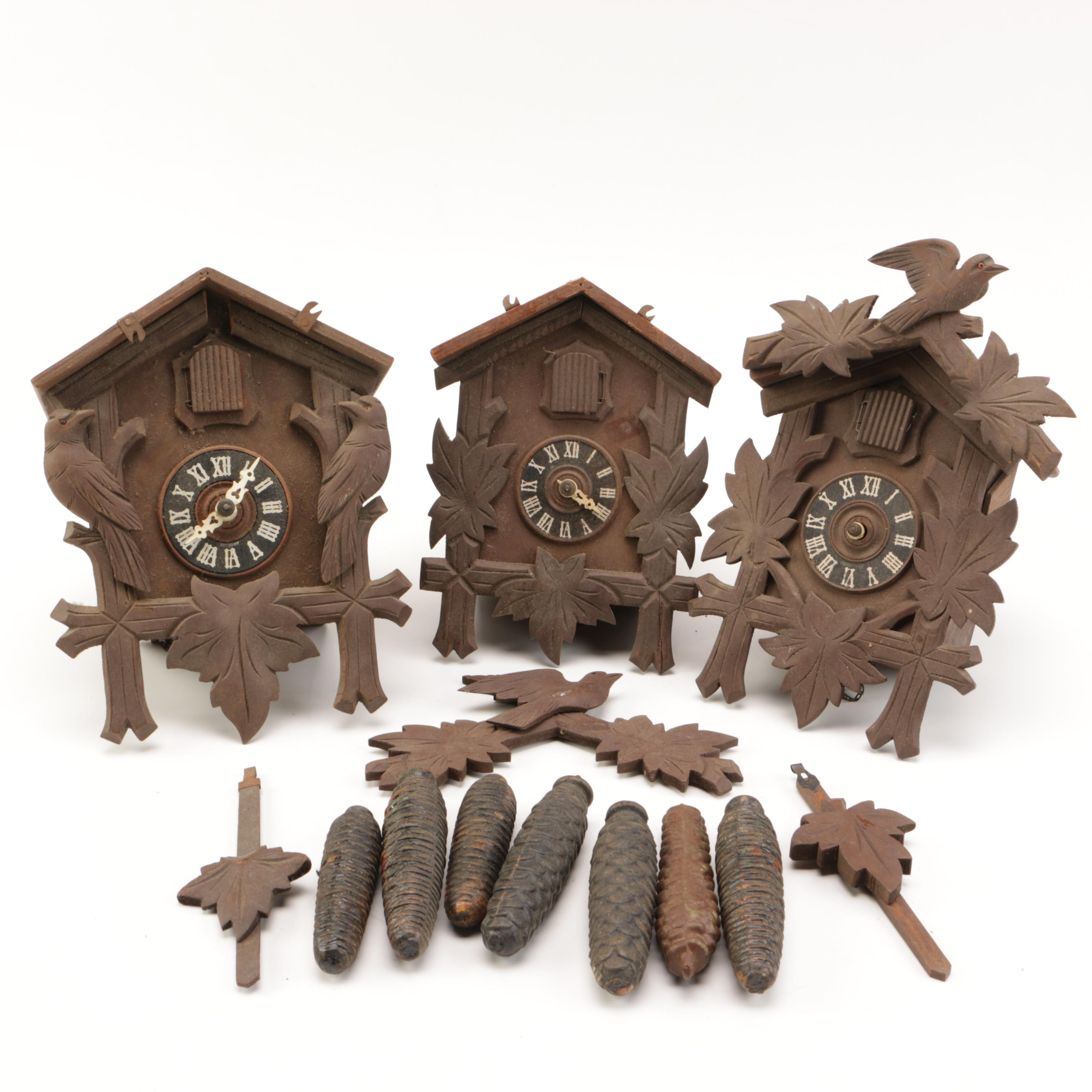 Black Forest Style Carved Wooden Cuckoo Clocks
