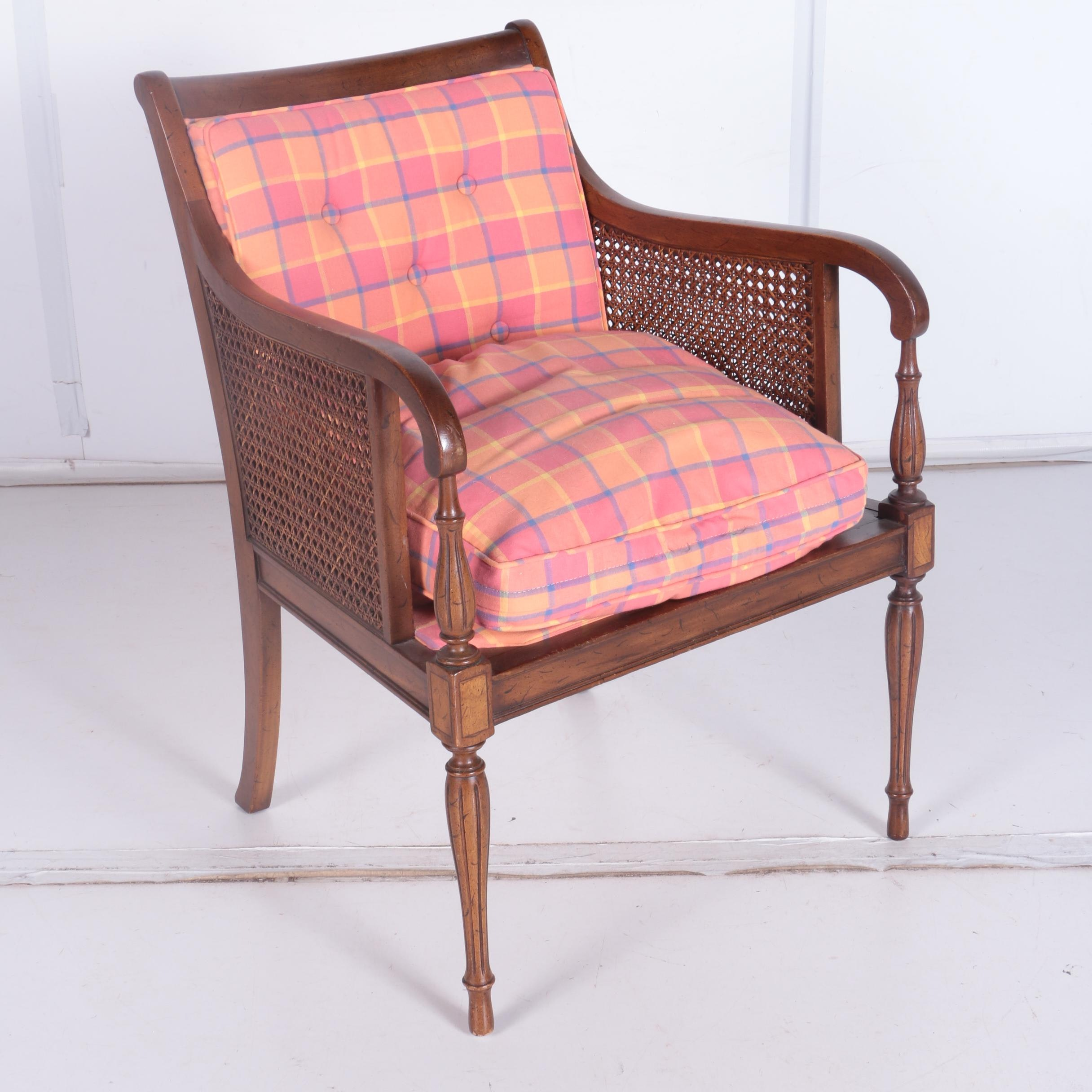 Mid-Century Neoclassical Style Caned Armchair