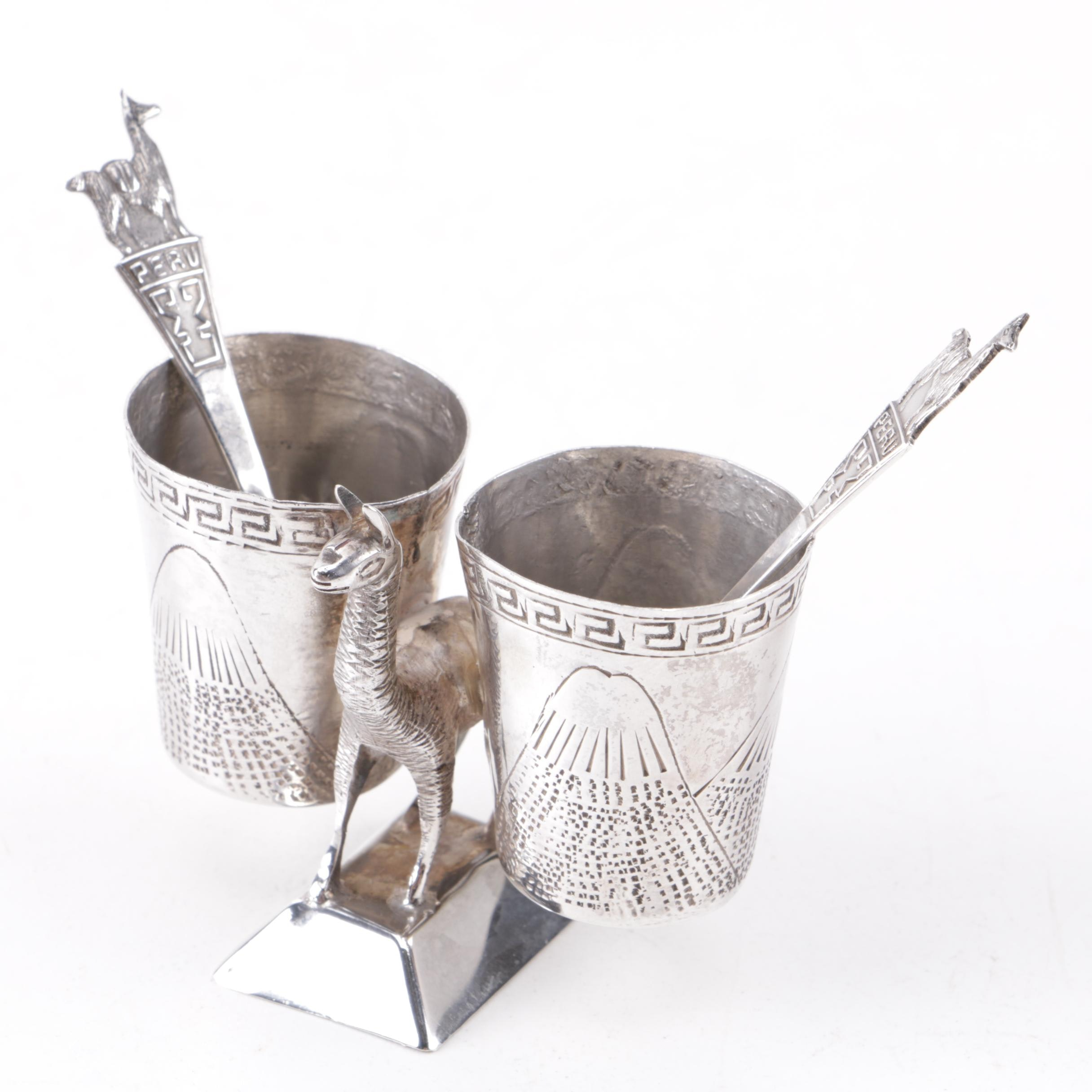 Peruvian Sterling Silver Llama Themed Condiment Server with Spoons