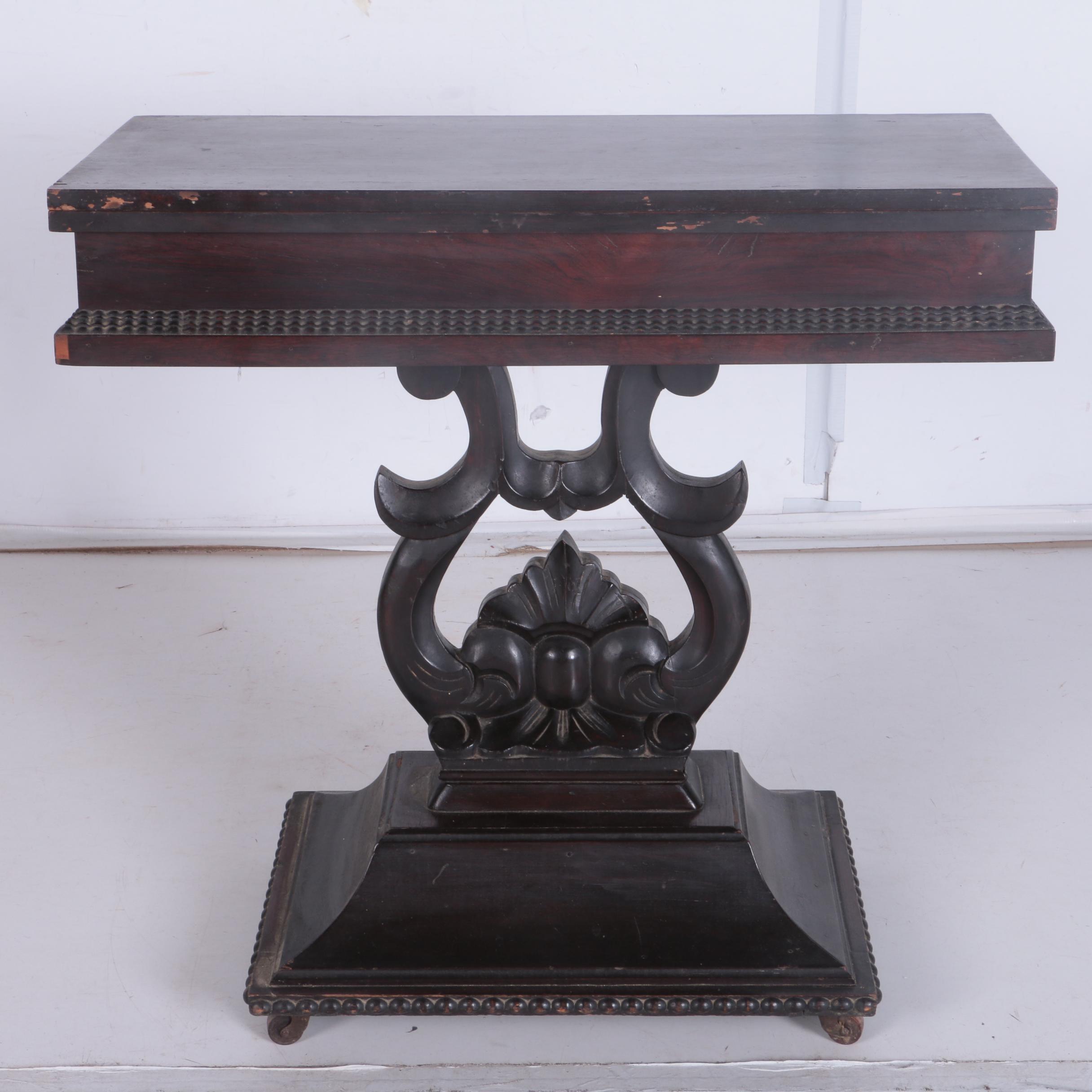 Rosewood Veneer Pedestal Game Table