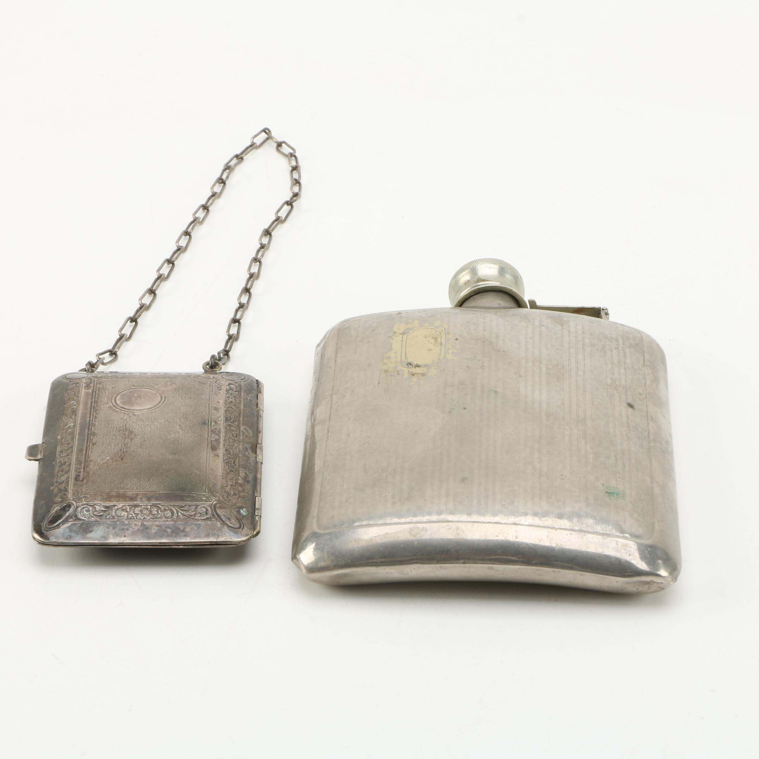 Nickel Silver Flask and Metal Card Holder