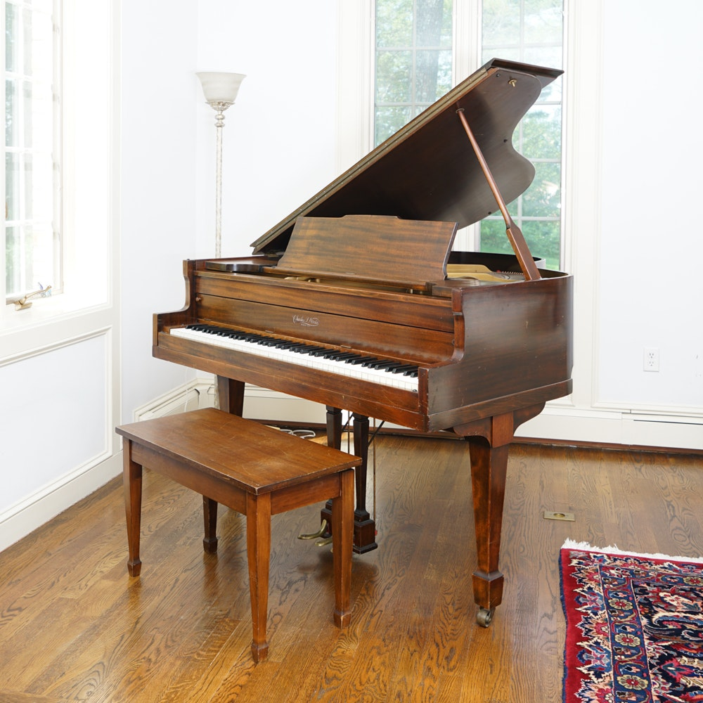Vintage Charles Norris Baby Grand Piano and Bench