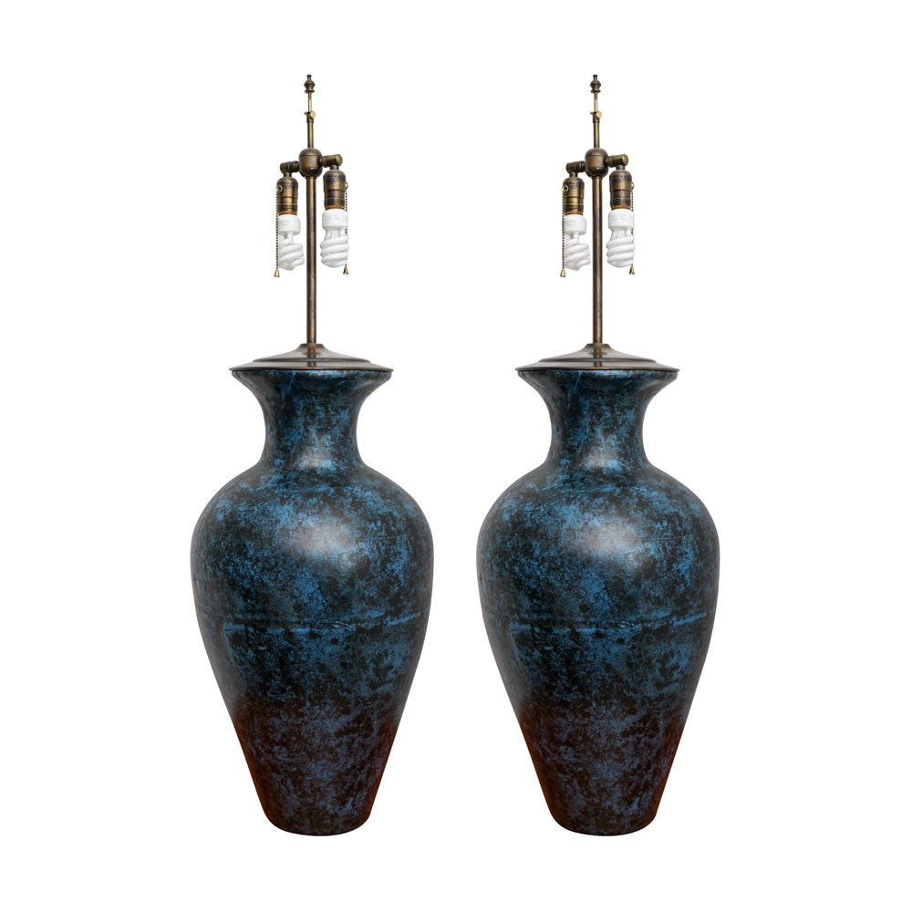 Wood Urn Table Lamps