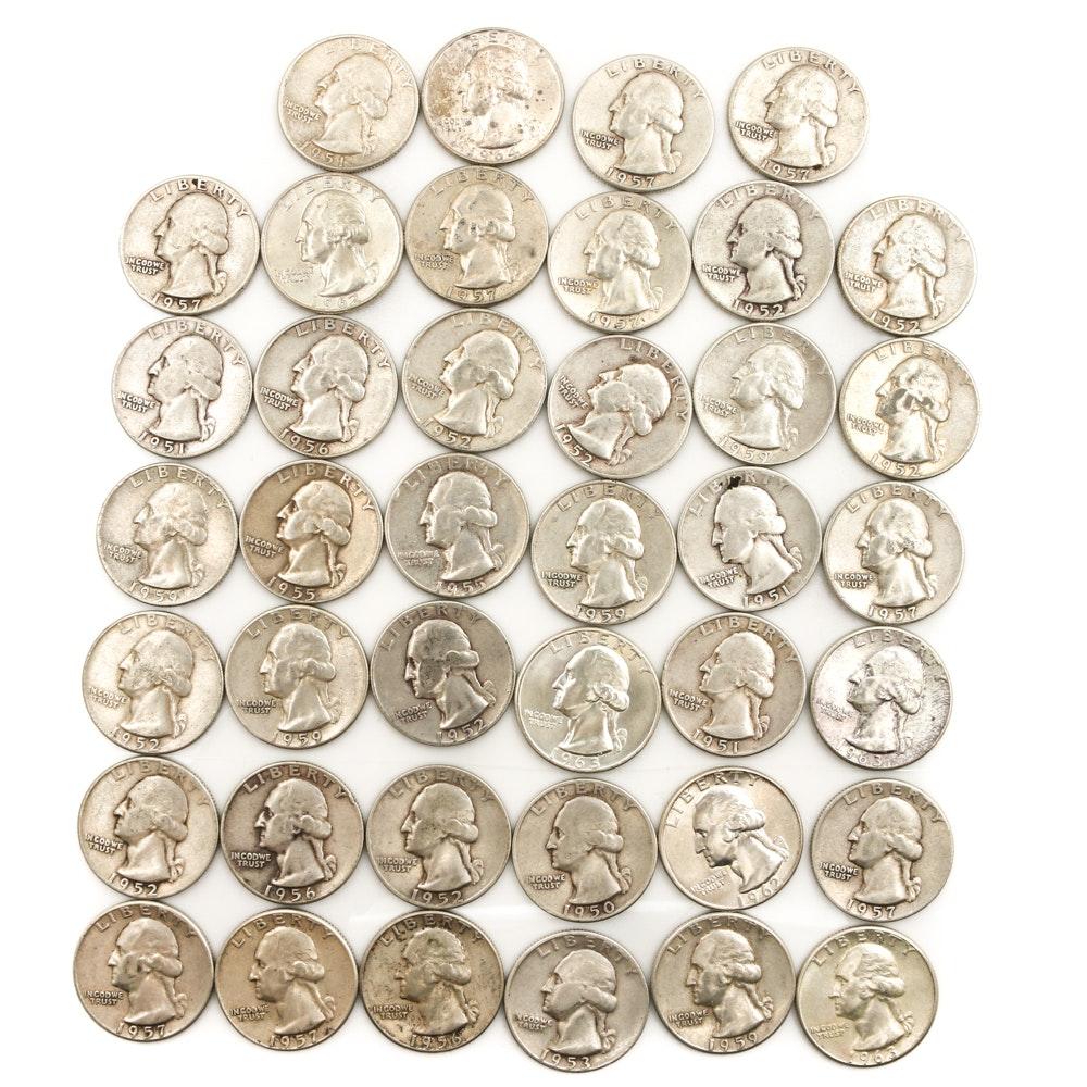Forty Silver Washington Quarters