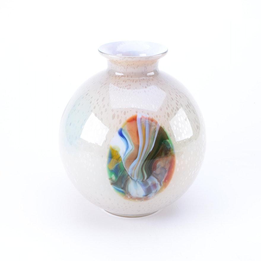 Translucent And Rainbow Art Glass Vase Ebth