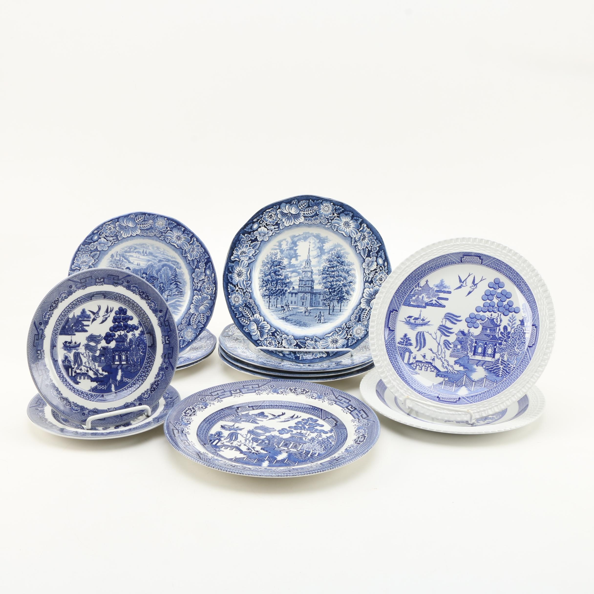 Cobalt on White Porcelain and Ironstone Plates, Including Blue Willow