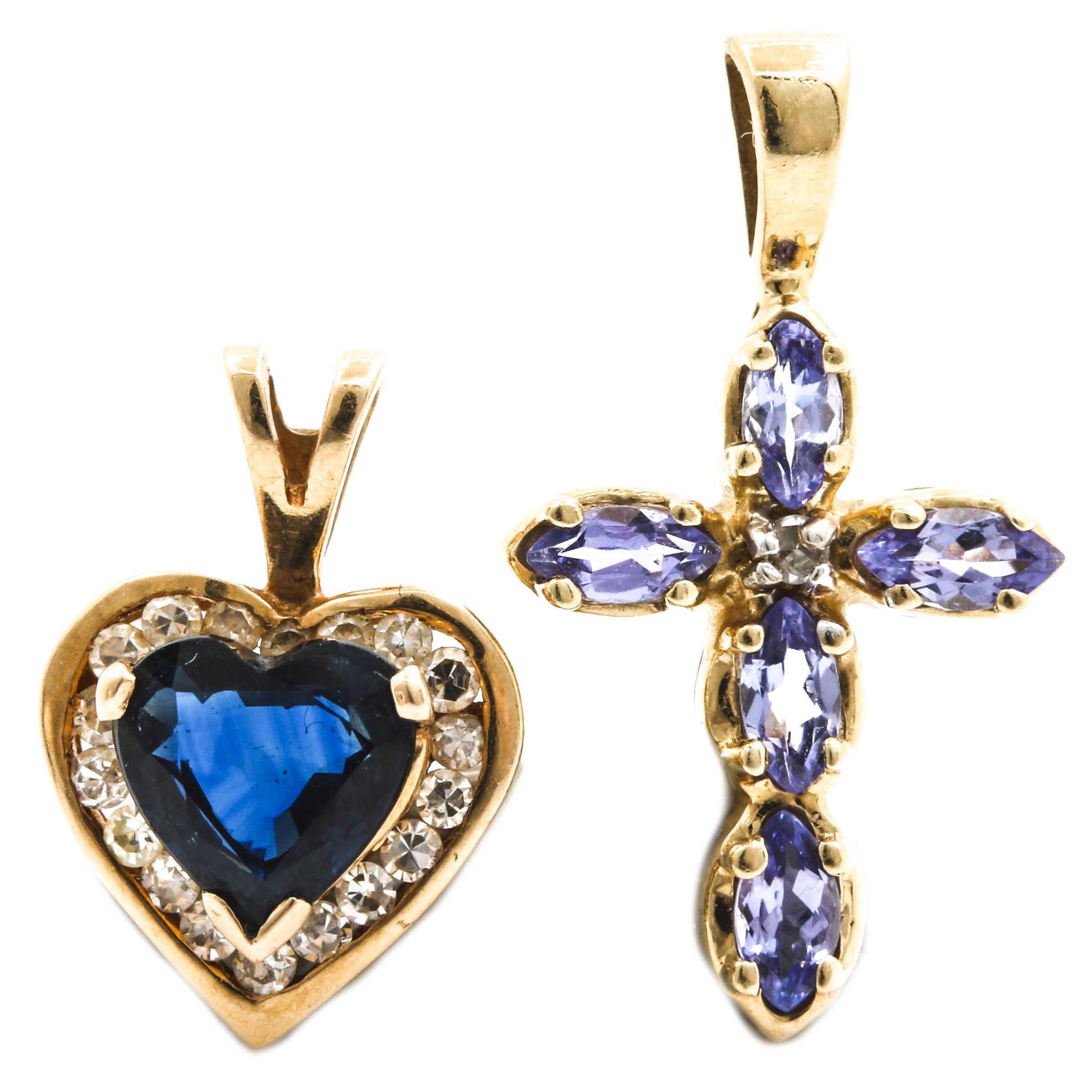 Selection of 14K Yellow Gold Sapphire, Tanzanite and Diamond Pendants