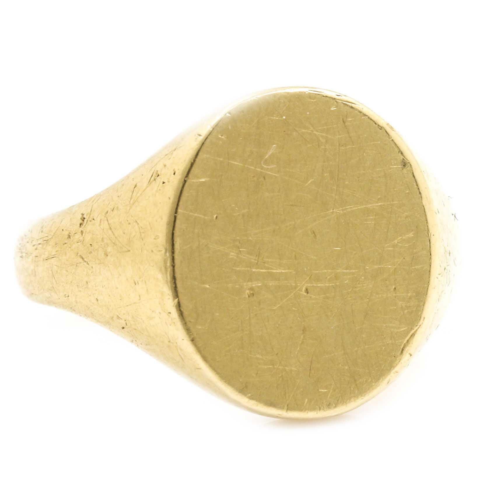 18K Yellow Gold Signet Ring