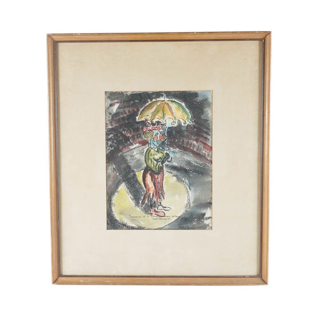 Carol Brown Watercolor of a Clown