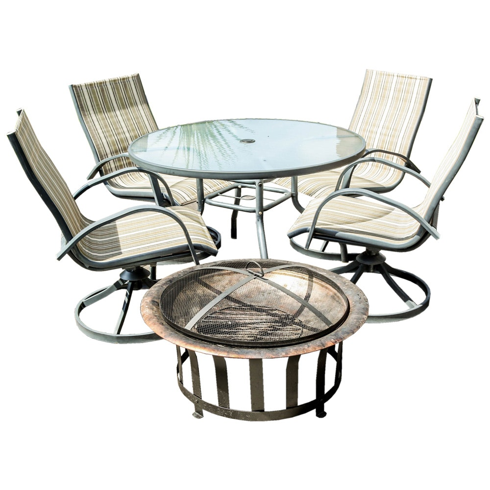 Five-Piece Patio Set and Fire Pit
