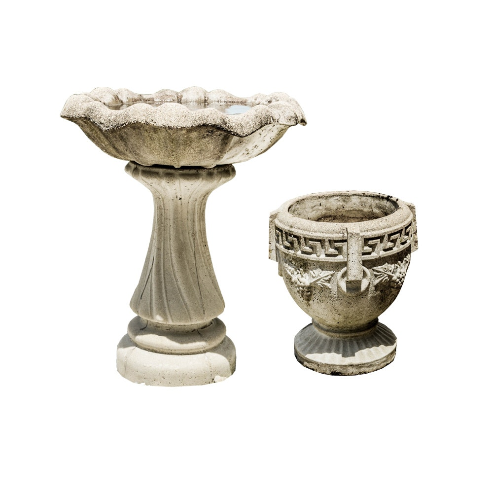 Concrete Pedestal Birdbath With Classical Planter Ebth
