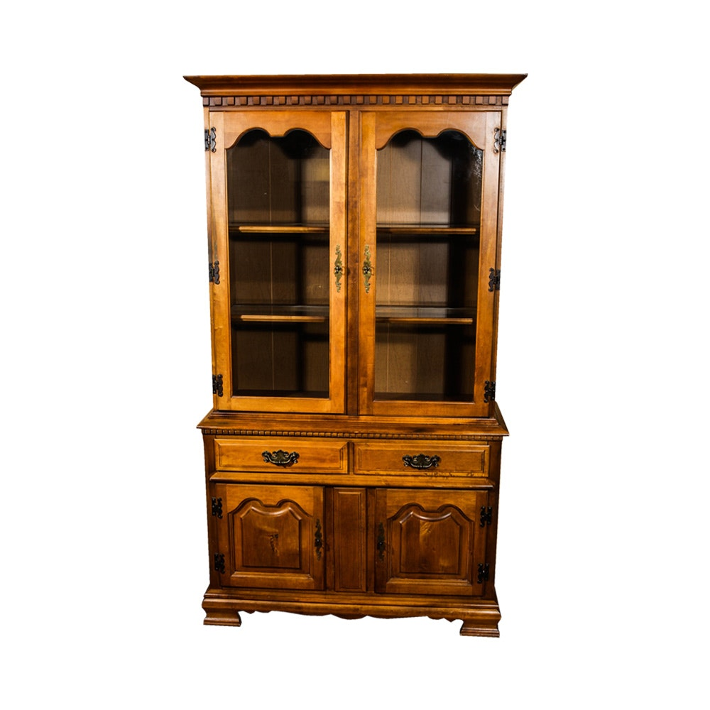 Colonial Style Maple China Cabinet by Garrison