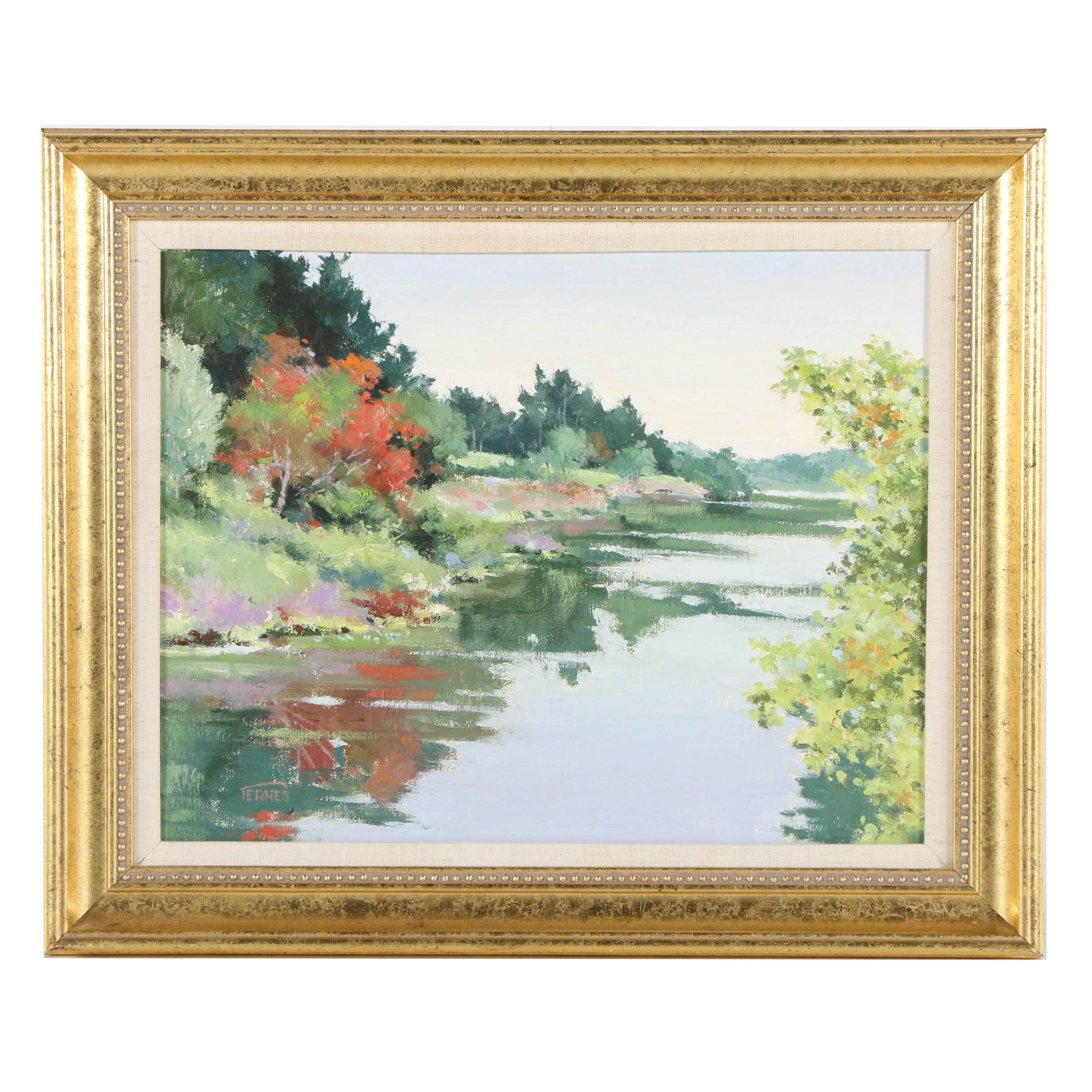 Ternes Signed Oil Painting on Canvas of Charles River