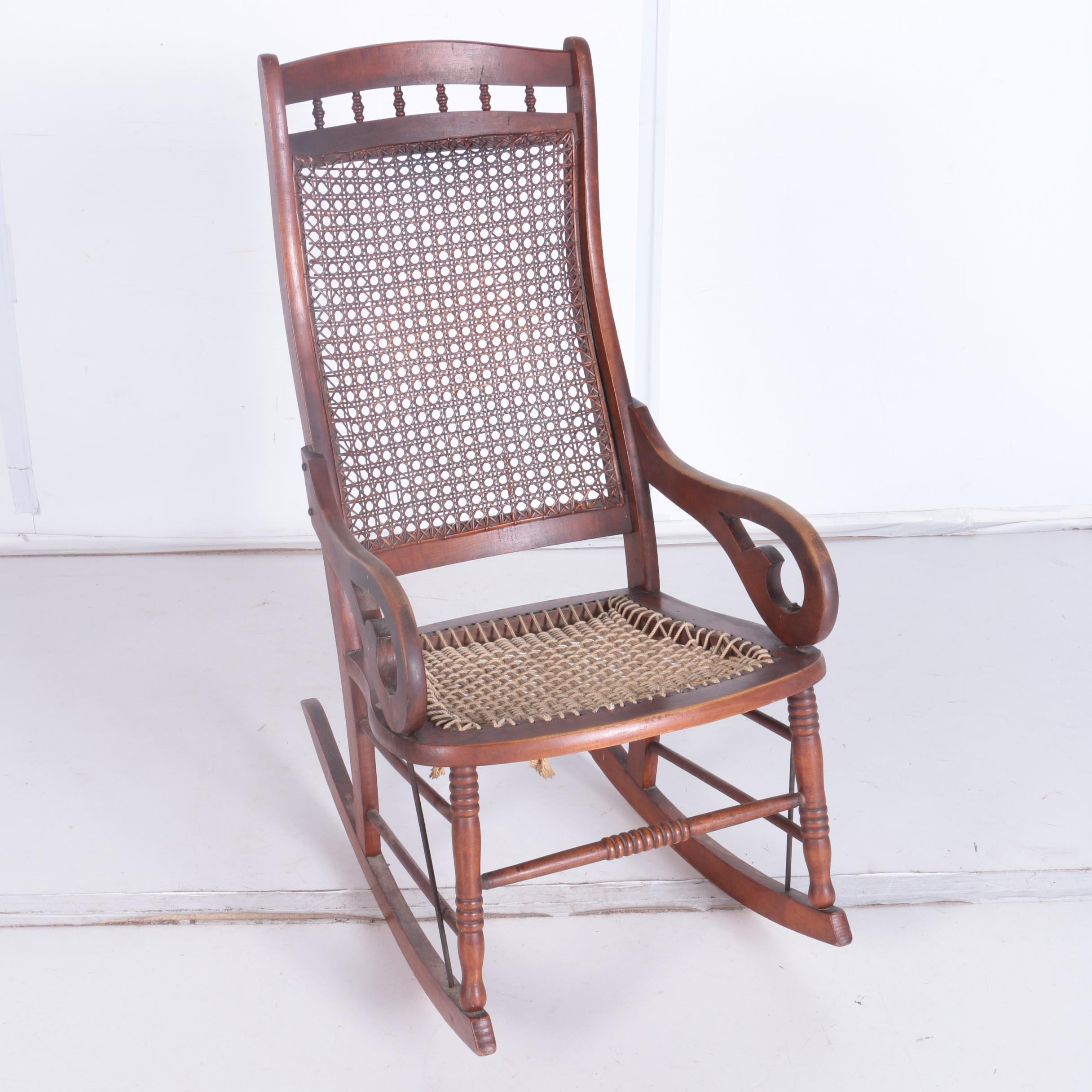 Antique Walnut and Cane Rocking Chair