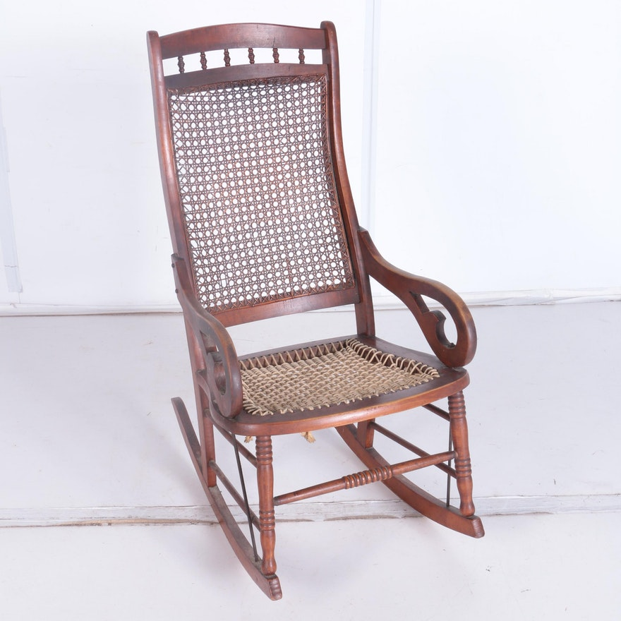 Antique Walnut and Cane Rocking Chair ... - Antique Walnut And Cane Rocking Chair : EBTH