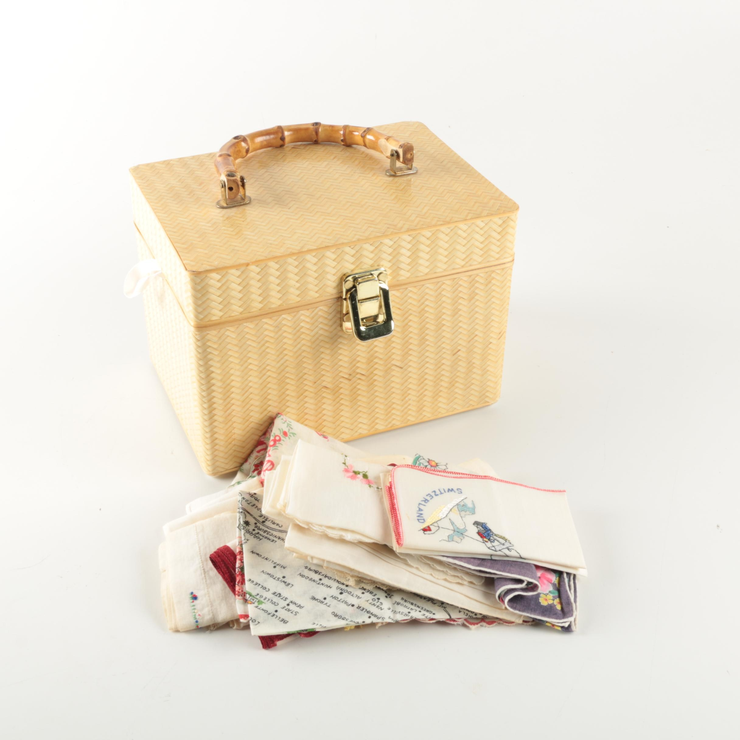 Woven Box Style Vanity Case with Vintage Handkerchiefs