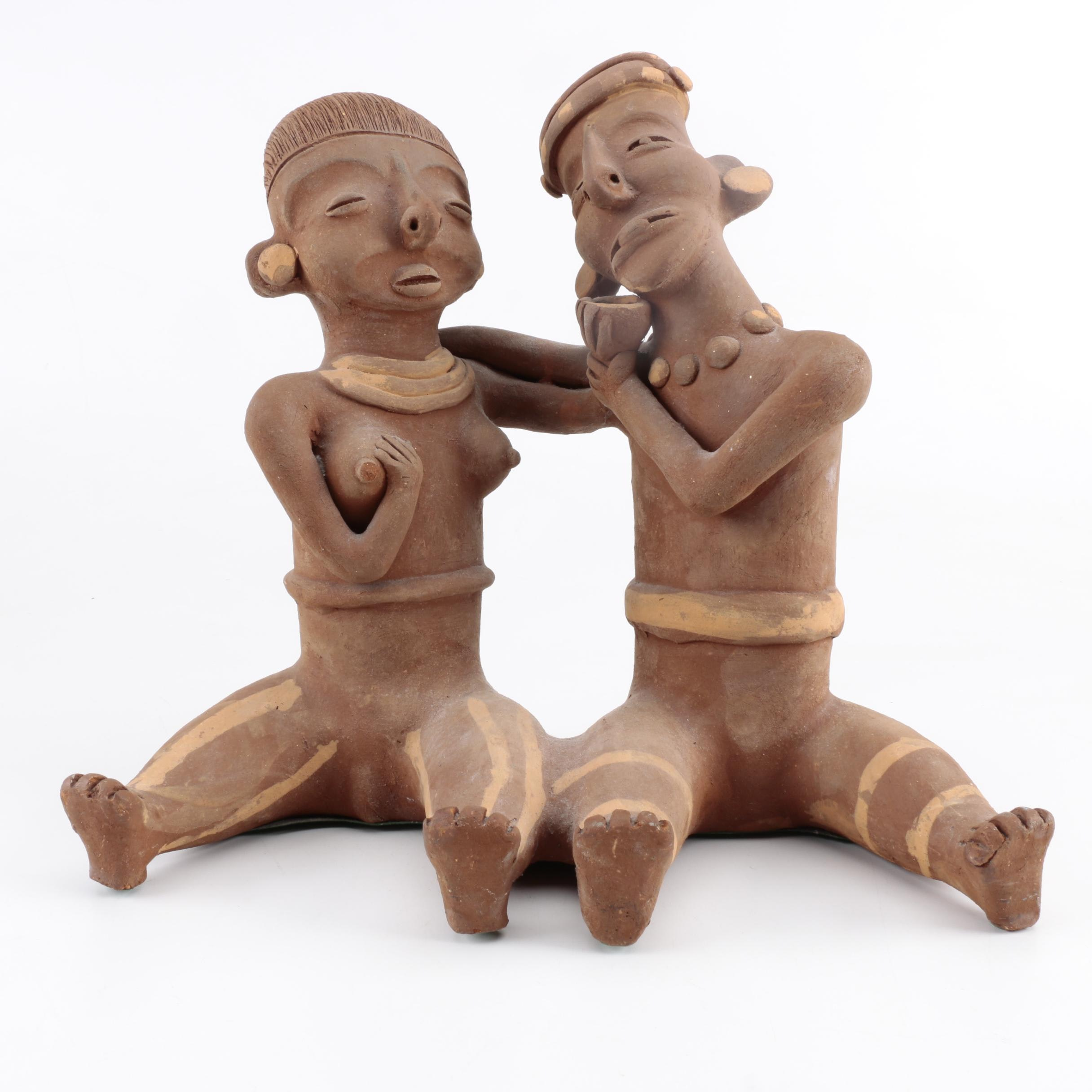 Aftrican Terra Cotta Sculpture of a Woman and Man