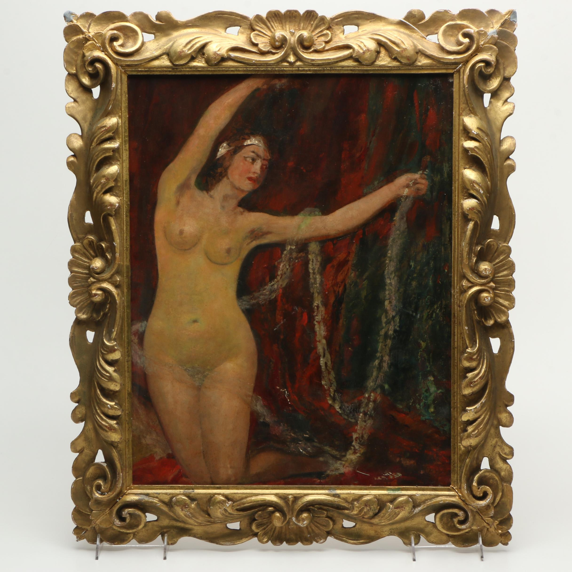 Oil Painting on Masonite In the Manner of William Etty