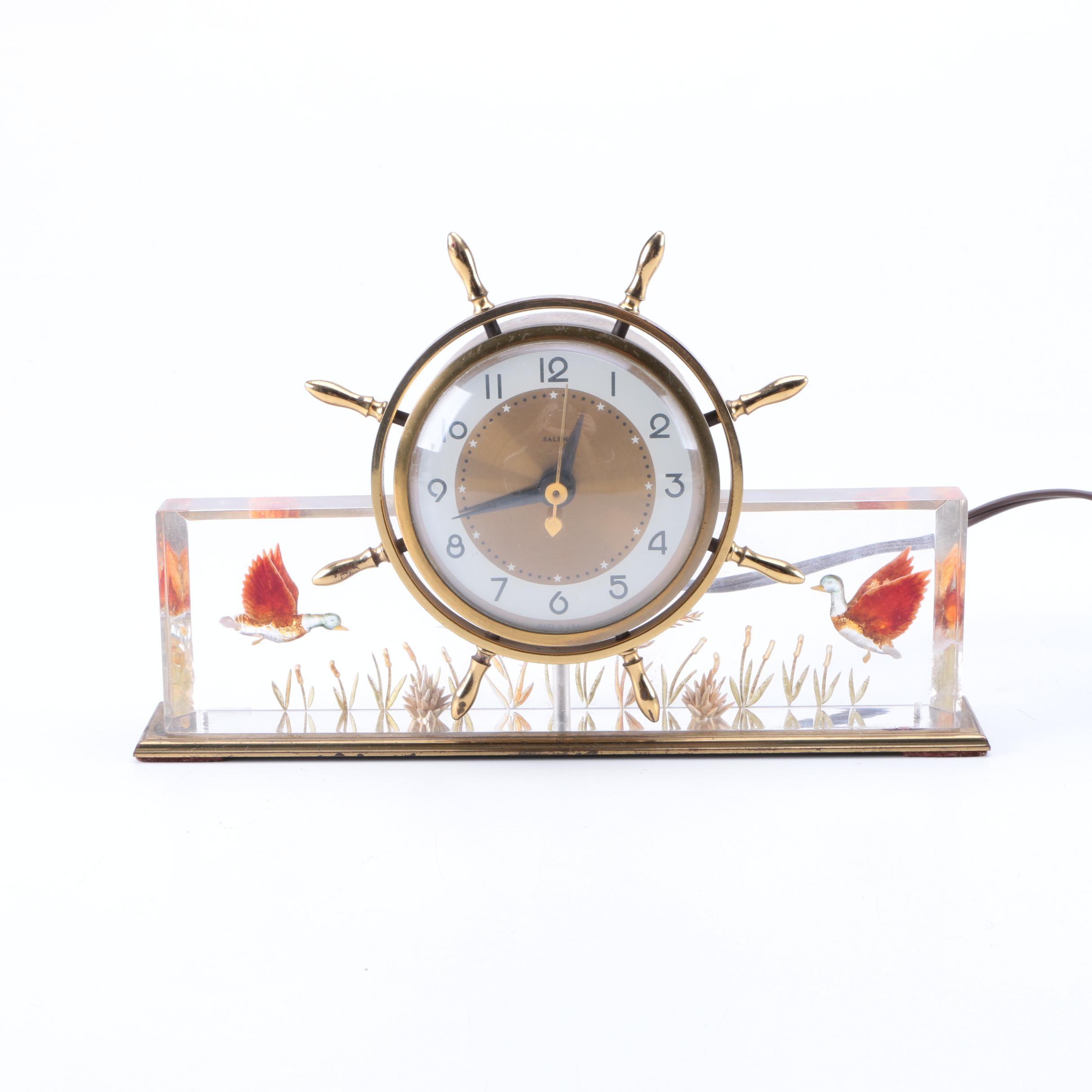 Salem Ship's Wheel Table Clock