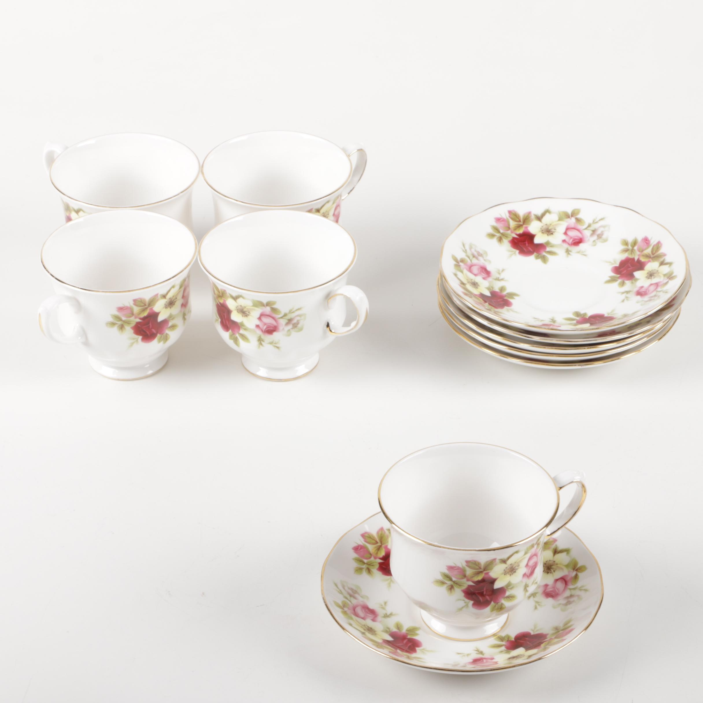 """Vintage Ridgway """"Queen Anne"""" Teacups and Saucers"""