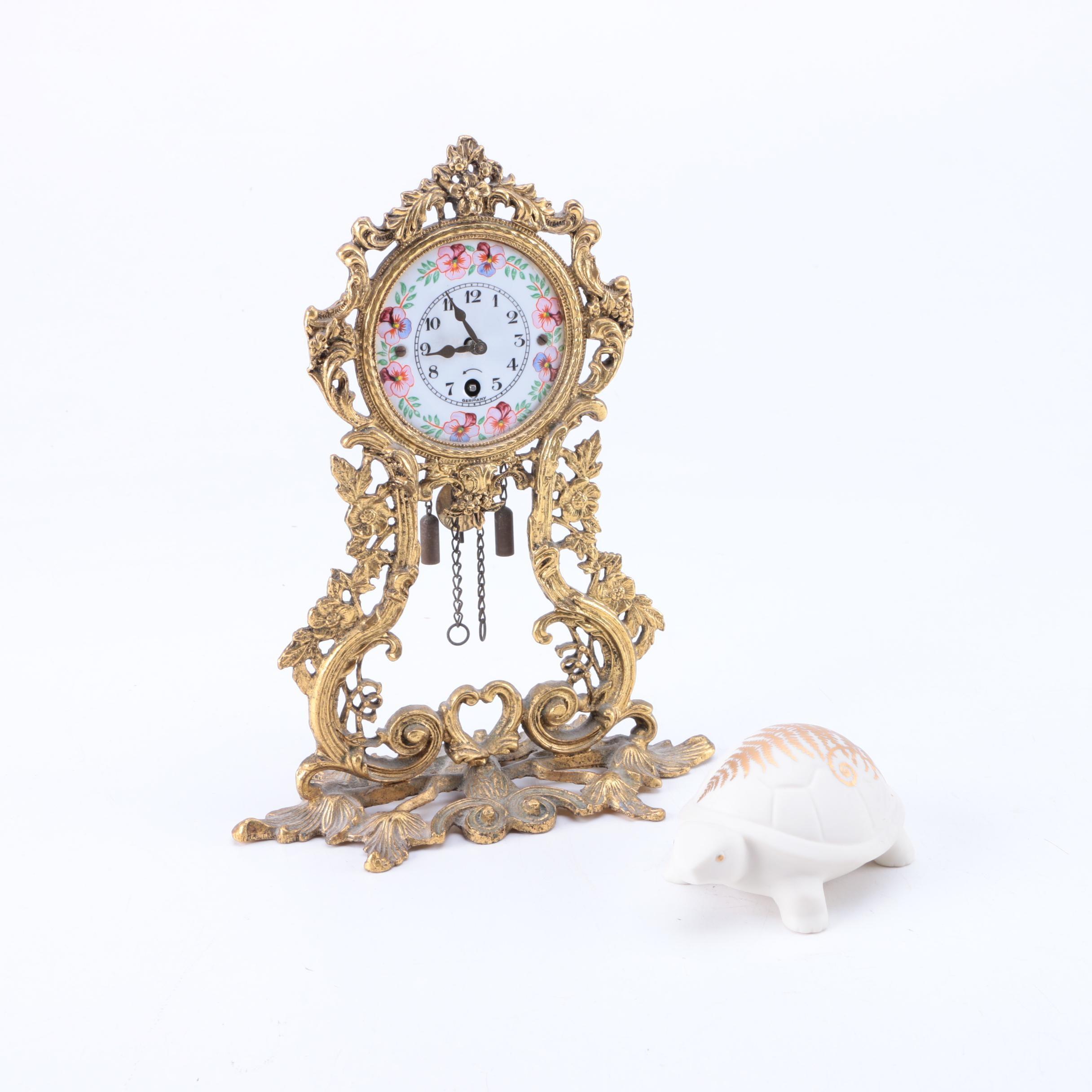 Decorative German Clock and Lenox Porcelain Turtle Figurine