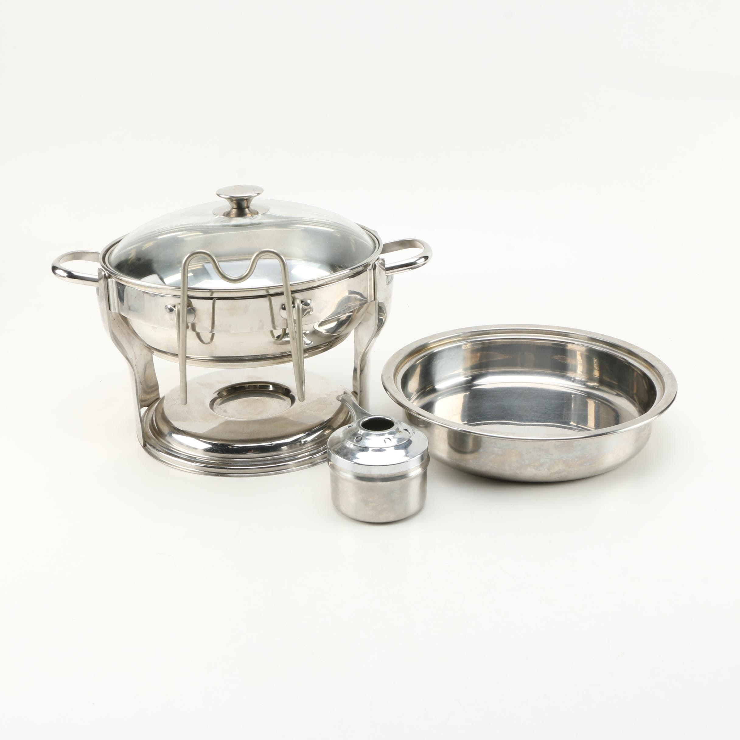 Stainless Serveware Including Culinary Essentials