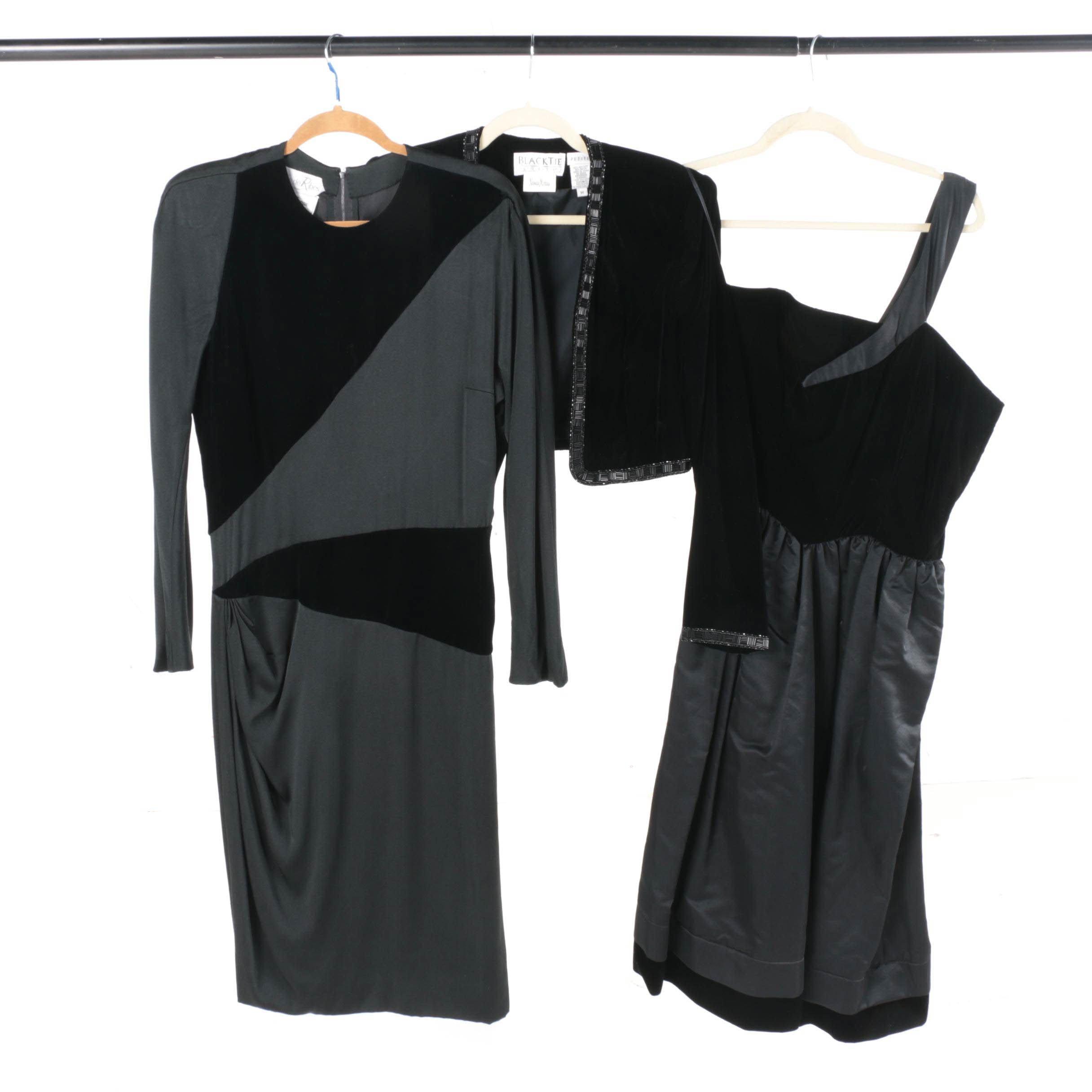 Circa 1980s Velvet Dresses with Oleg Cassini