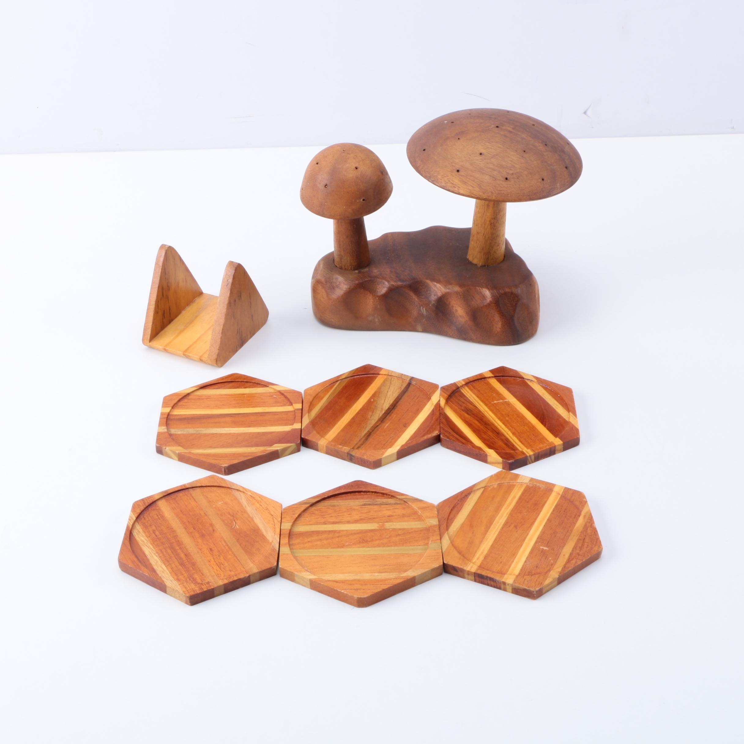 Filipino Carved Rain Tree Mushroom Décor and Wooden Coaster Set