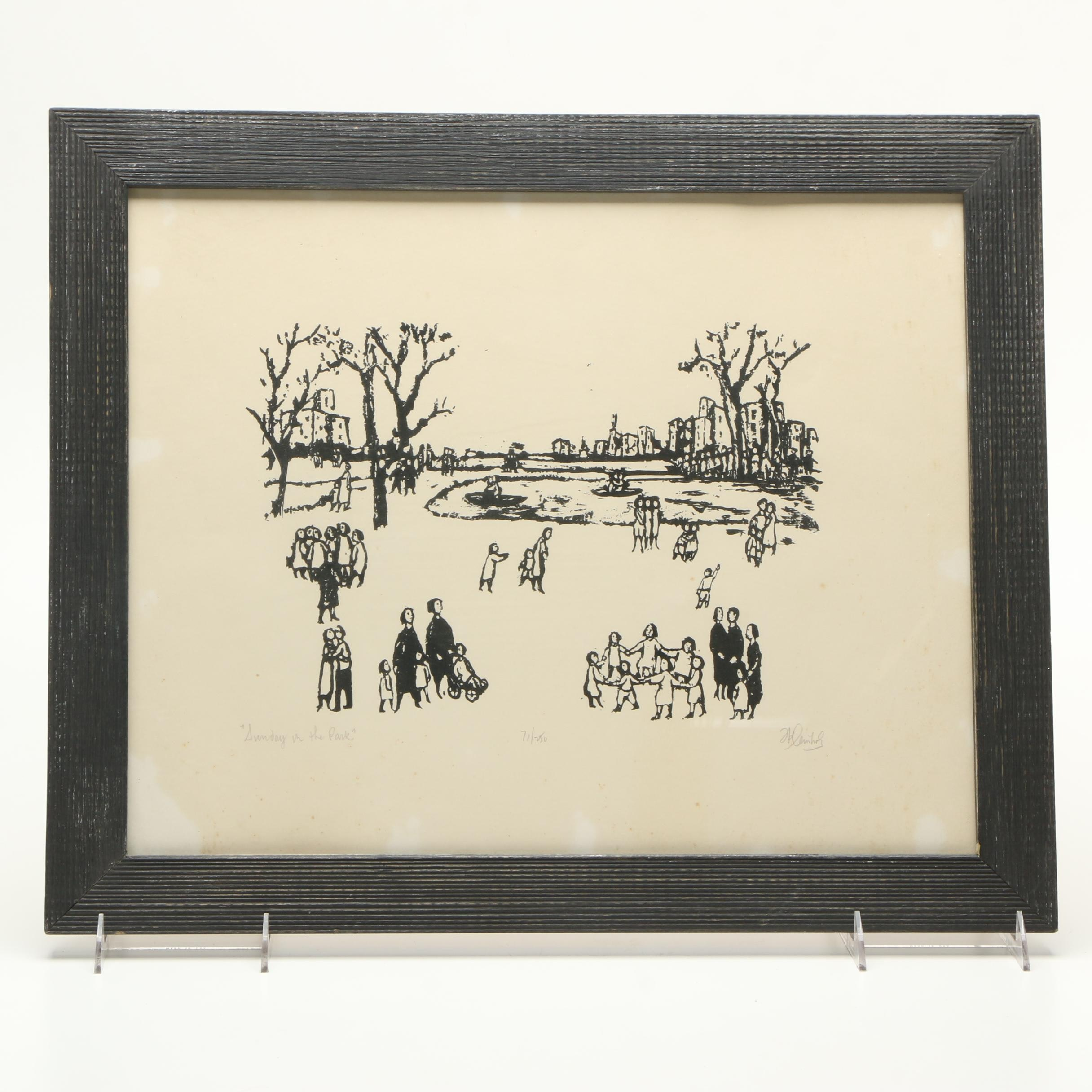 "Frank Kleinholz Signed Limited Edition Serigraph on Paper ""Sunday in the Park"""