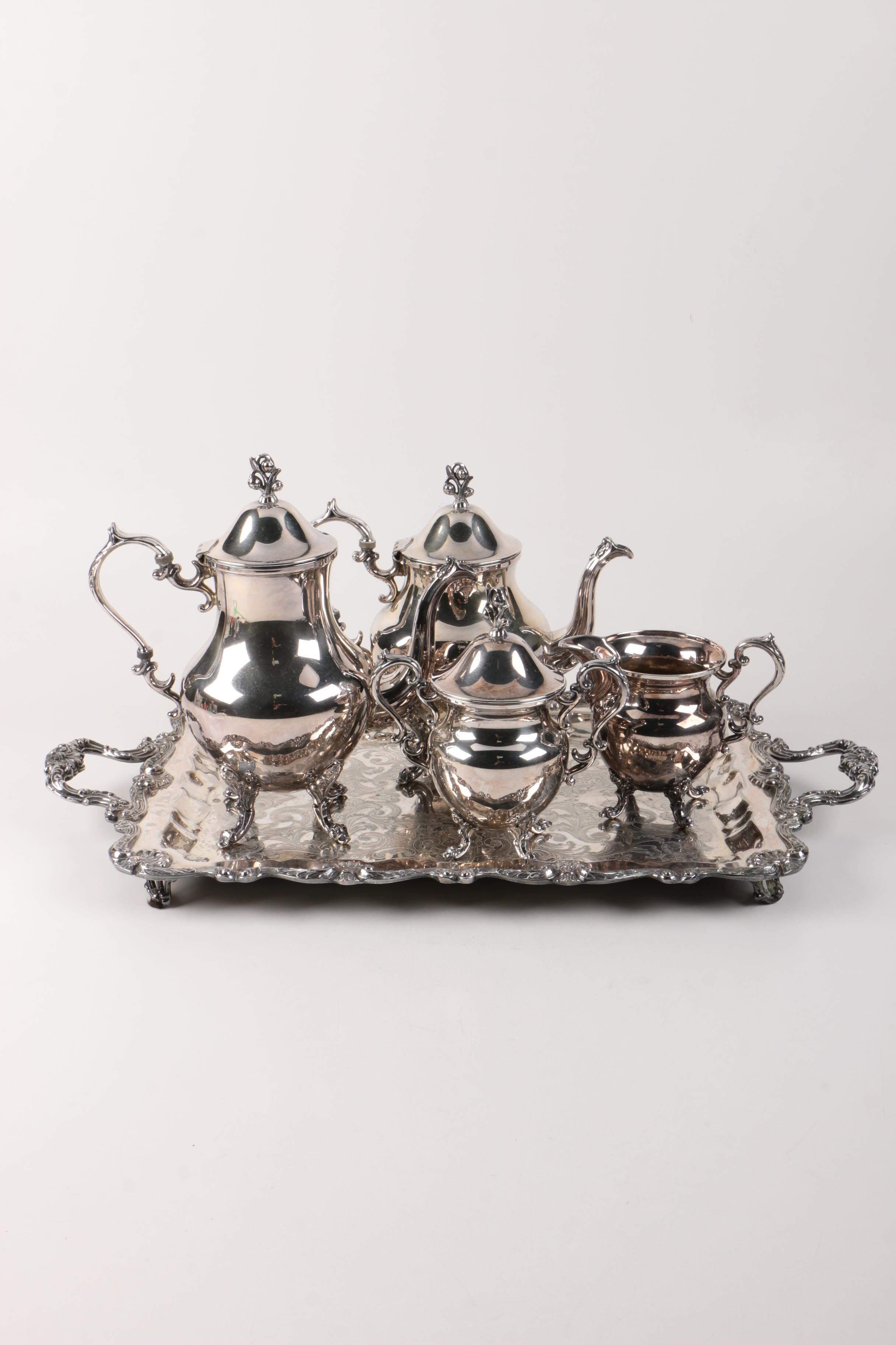 English Silver Mfg. Corp Silver on Copper Tea Service