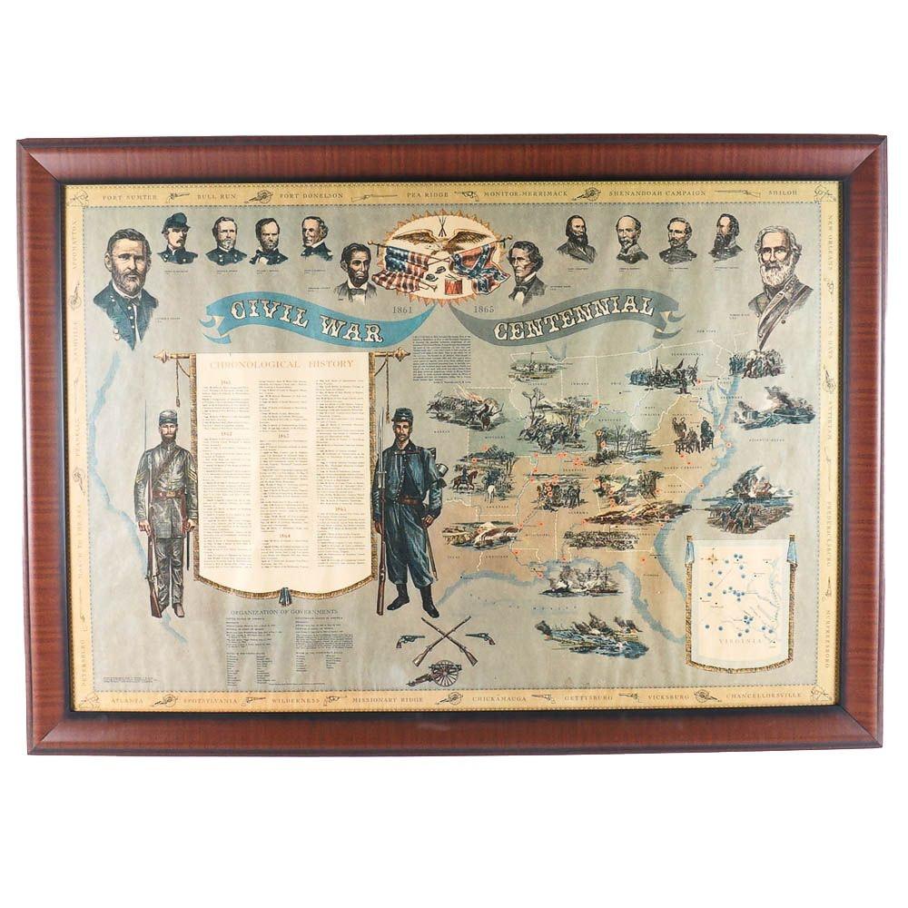 Offset Lithograph of American Civil War Centennial Map and Timeline of Battles